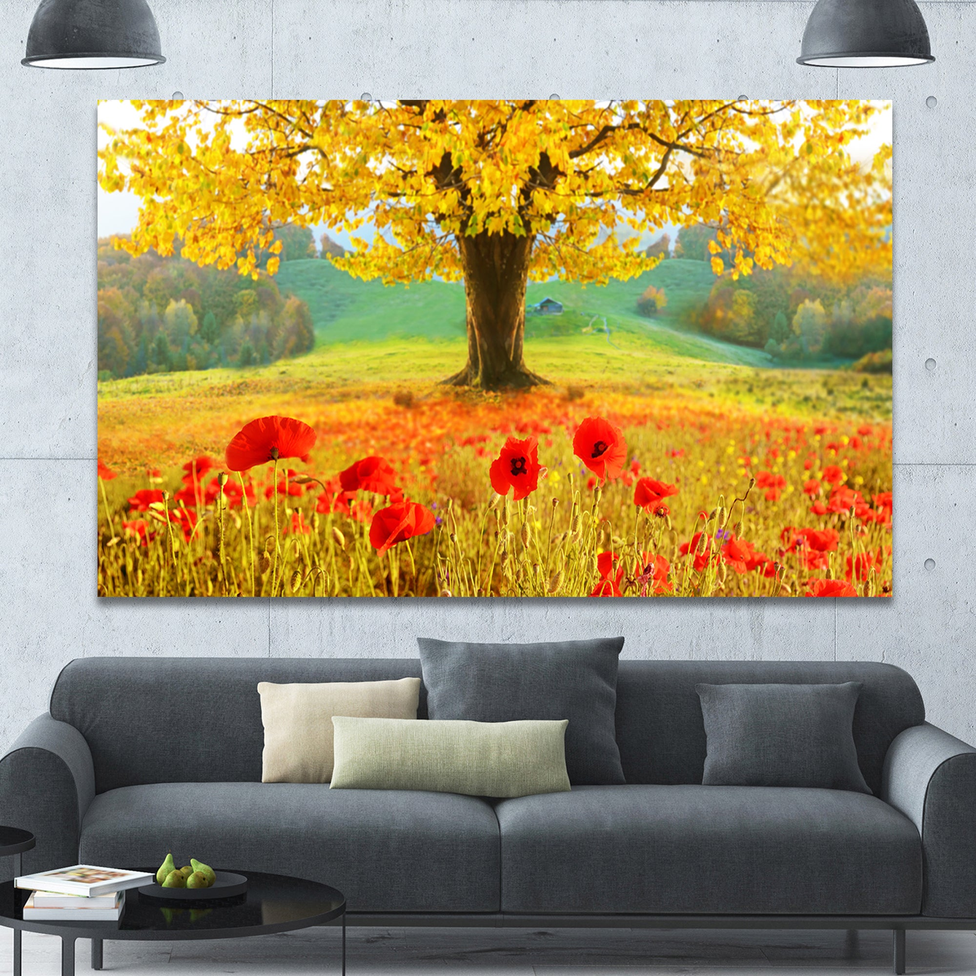 DesignArt \'Beautiful Autumn Yellow Tree\' Modern Floral Large Canvas ...