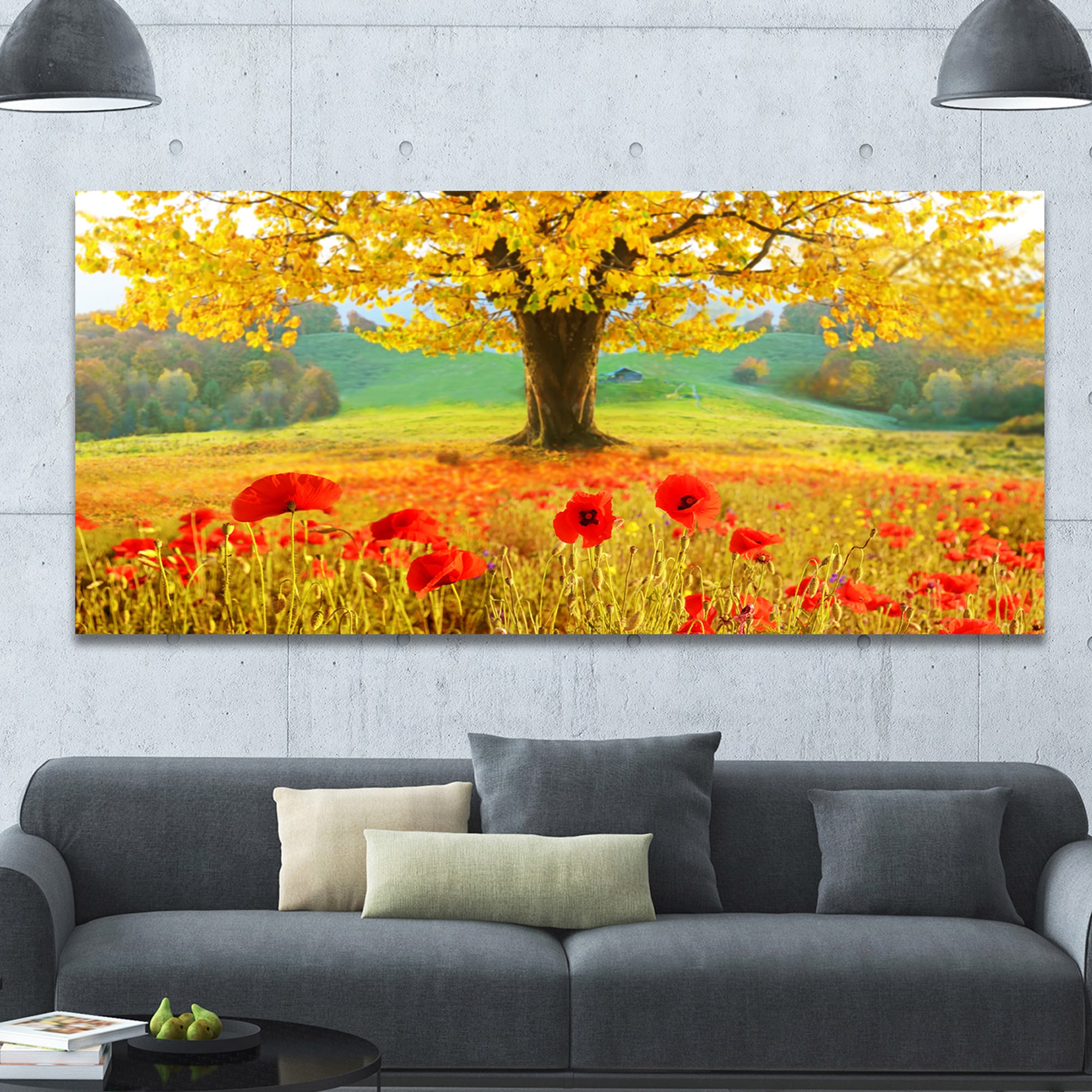 Shop DesignArt \'Beautiful Autumn Yellow Tree\' Modern Floral Large ...