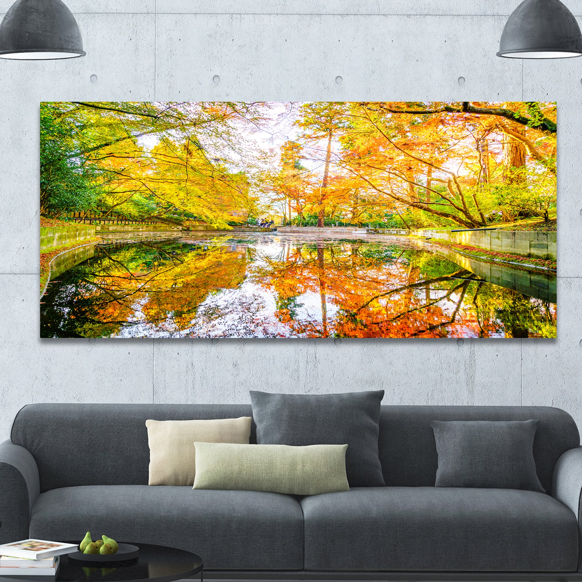Shop Designart \'Bright Fall Forest with River\' Extra Large Landscape ...