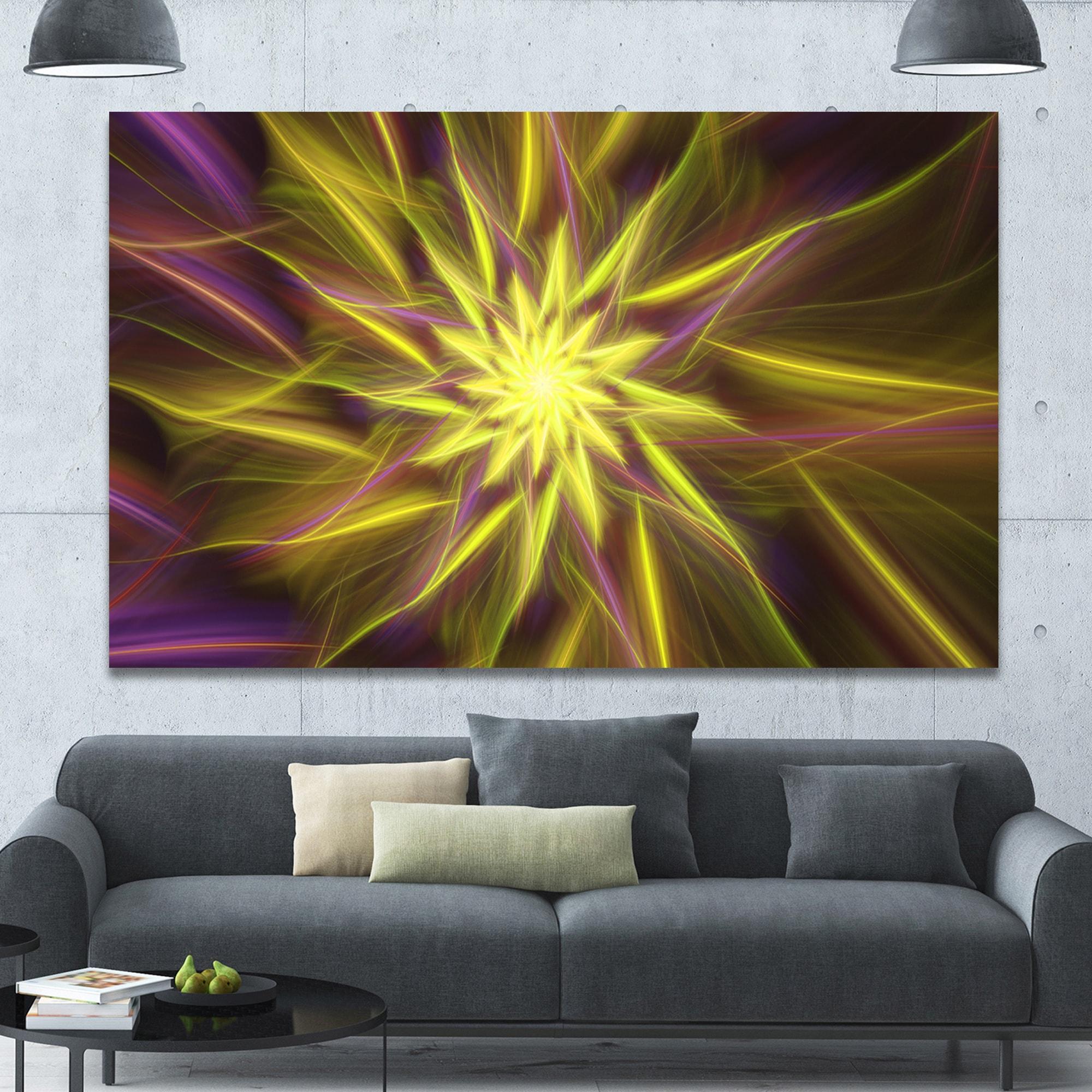 Shop Designart \'Shining Golden Exotic Fractal Flower\' Extra Large ...