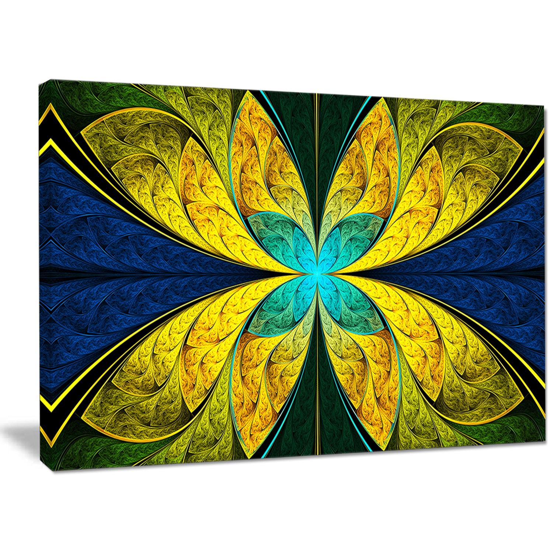 Shop Designart \'Bright Yellow Blue Fractal Flower\' Extra Large ...