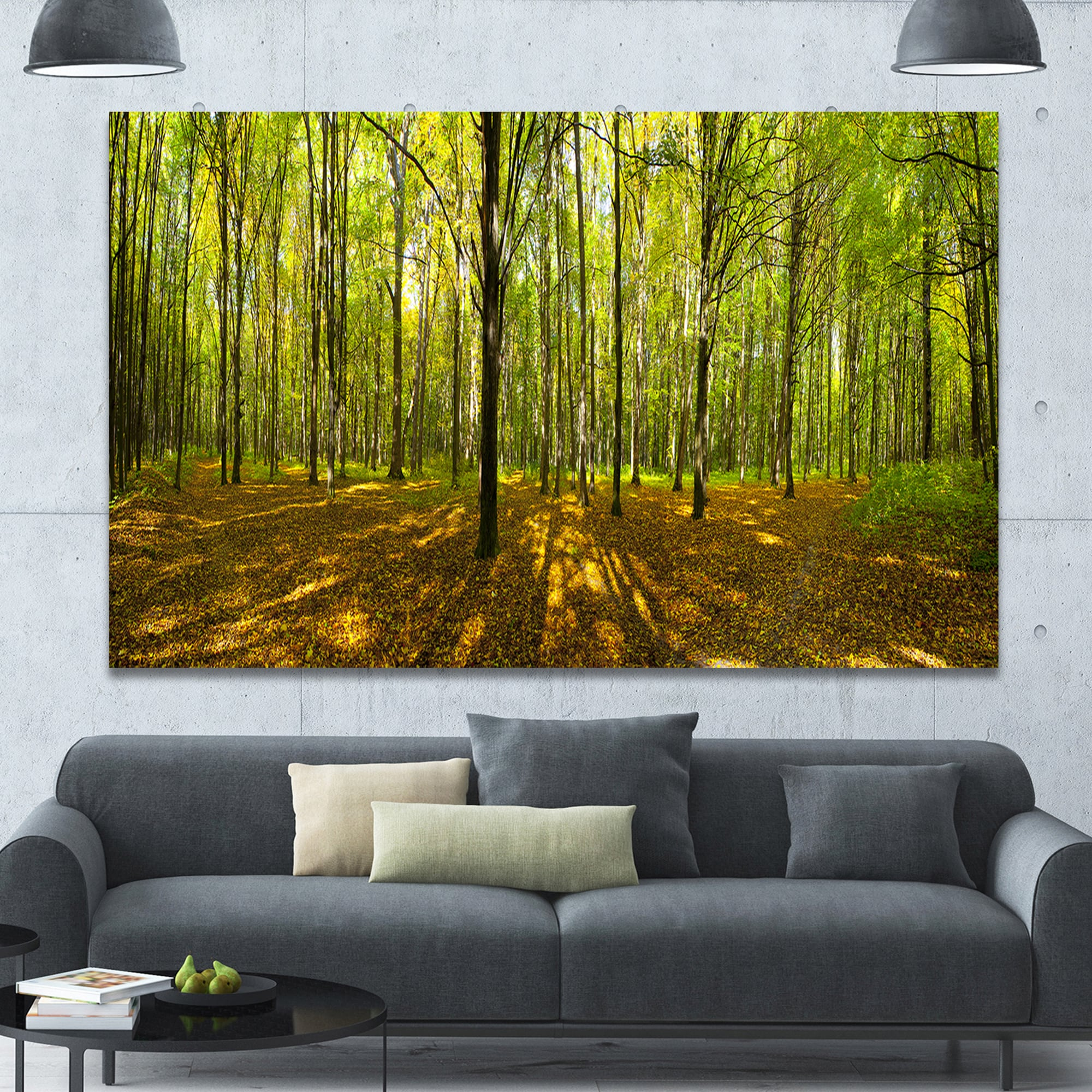Designart \'Green Autumn Forest Panorama\' Extra Large Landscape ...