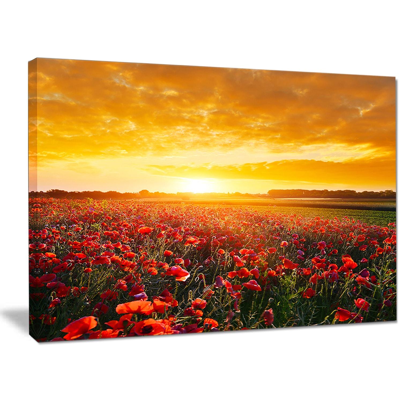 Designart \'Poppy Field under Ablaze Sunset\' Abstract Wall Art Canvas ...