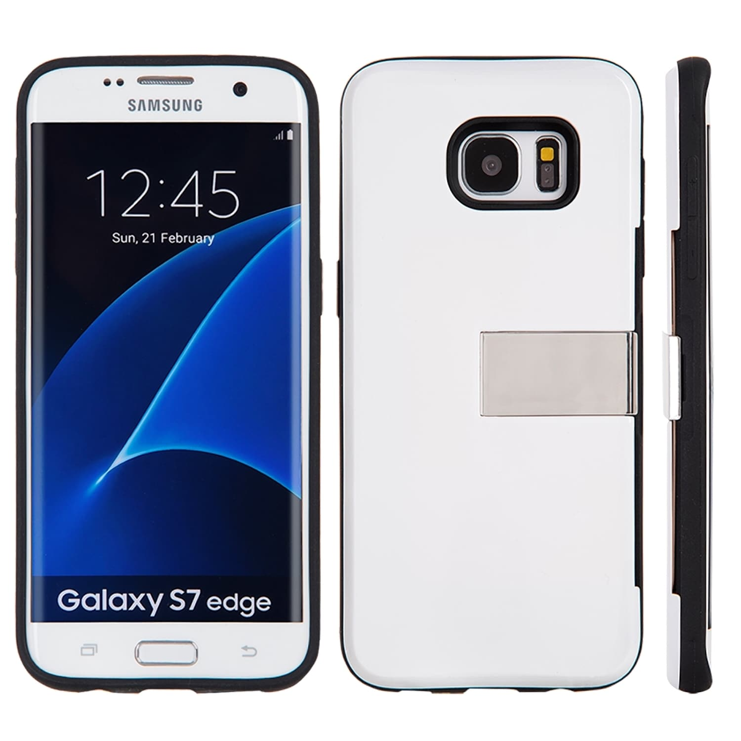Shop Samsung Galaxy S7 Edge Moderne Series Black Luxury Card Holder Hybrid Case with Gold Stand Free Shipping Orders Over $45 Overstock