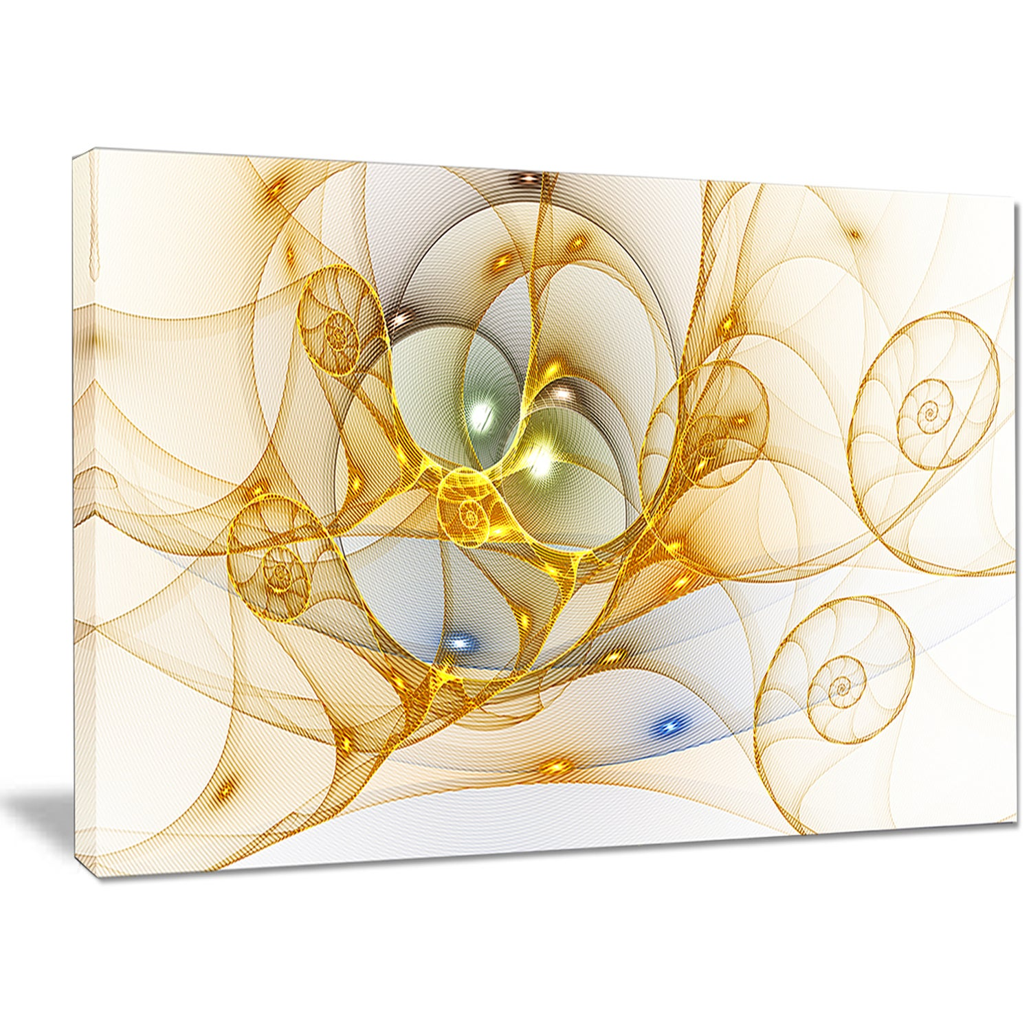 Designart \'Golden Colored Curly Spiral\' Extra Large Abstract Canvas ...