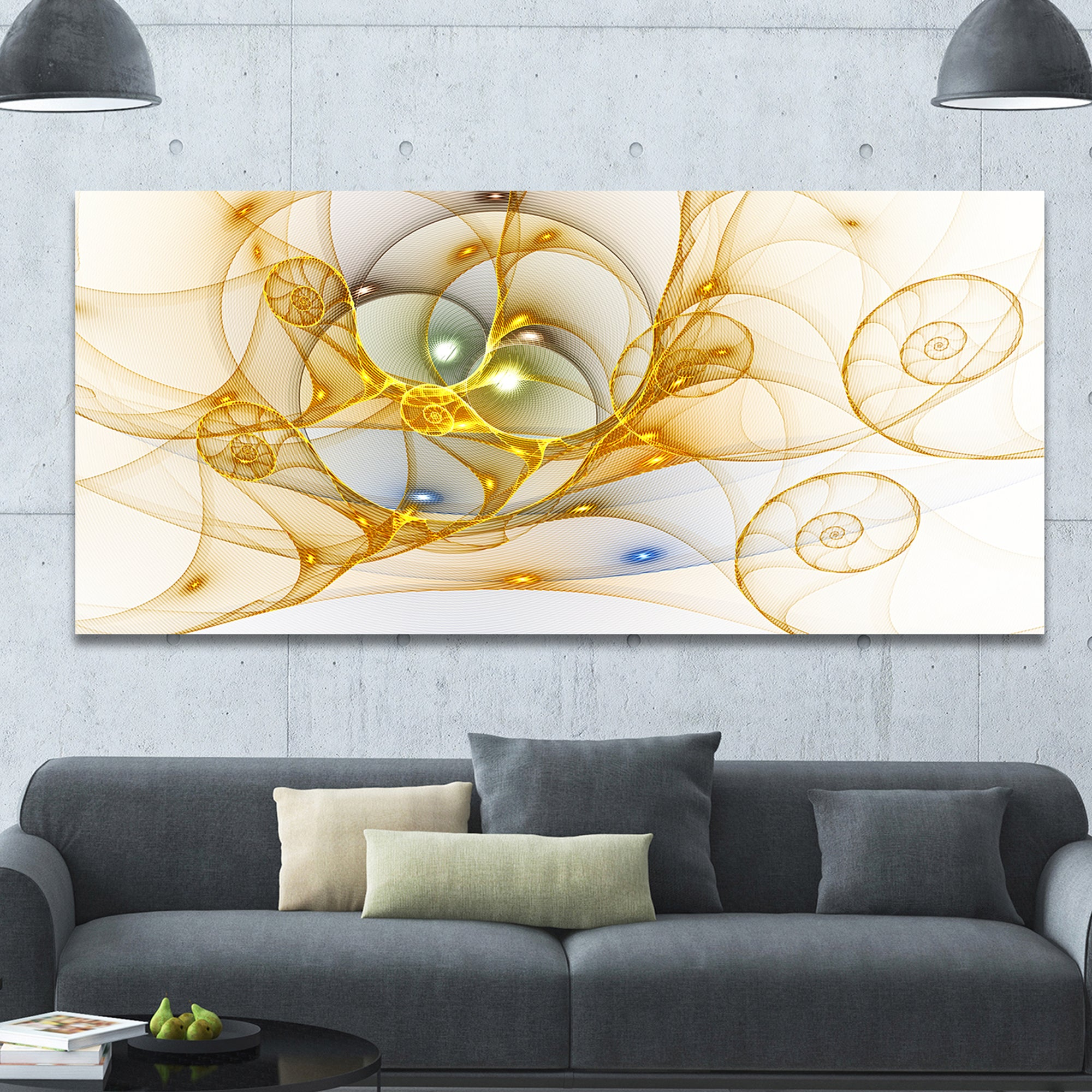 Shop Designart \'Golden Colored Curly Spiral\' Extra Large Abstract ...
