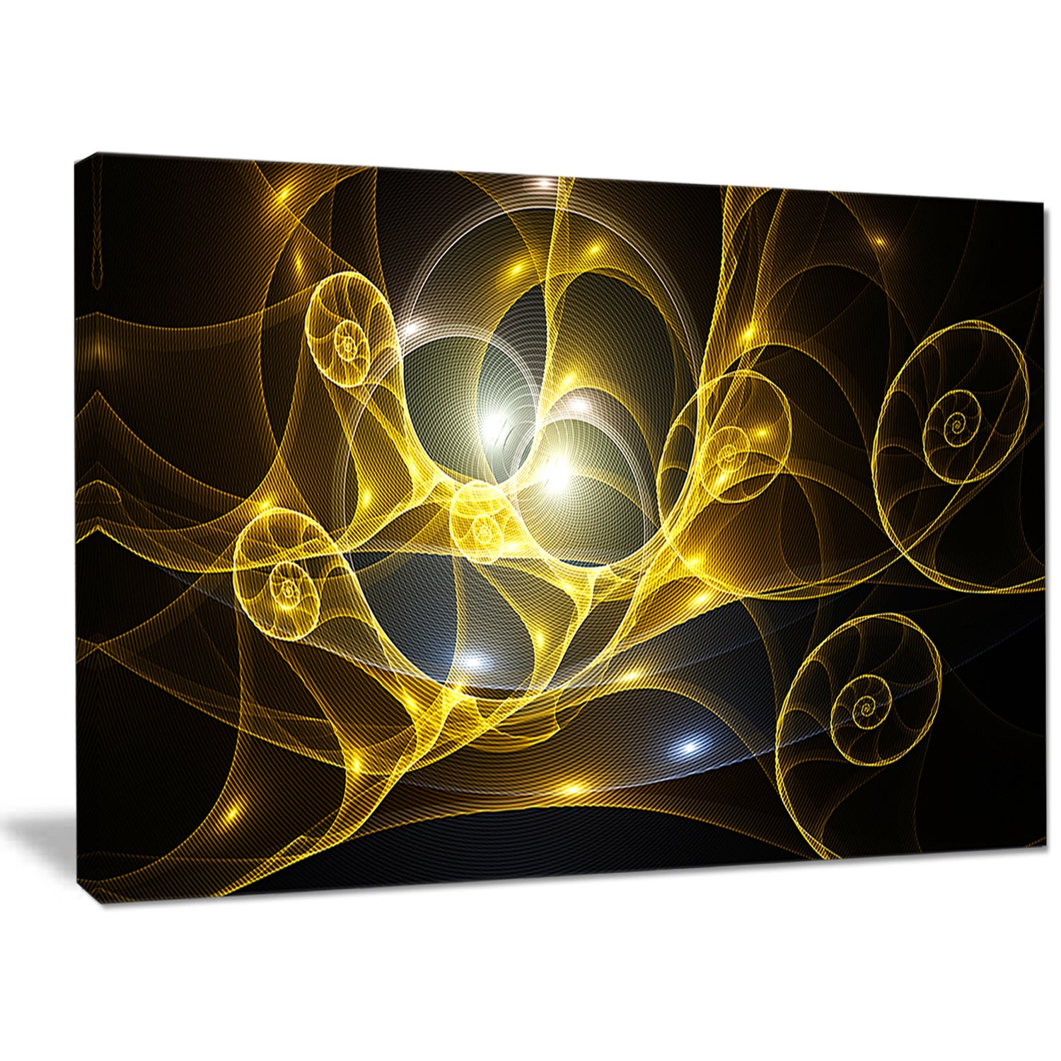 Shop Designart \'Golden Curly Spiral on Black\' Extra Large Abstract ...