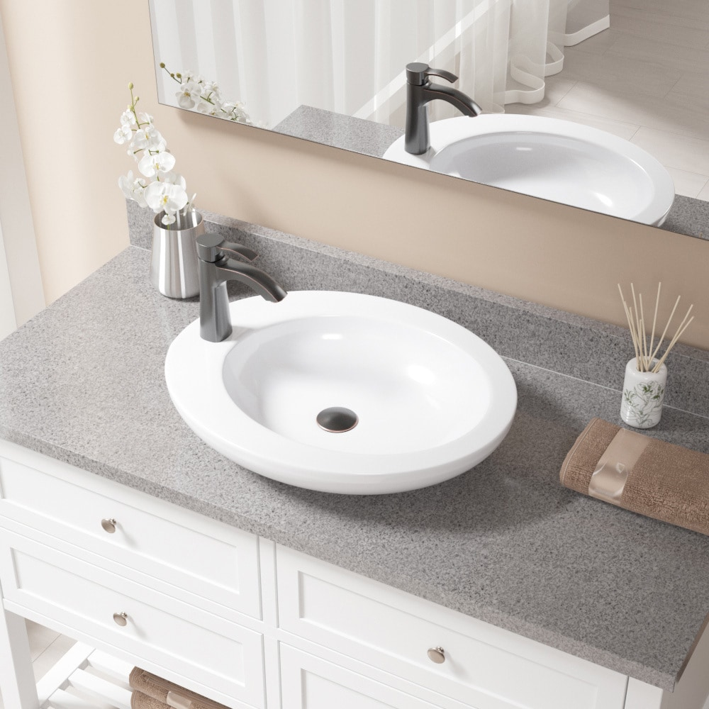 V3202 White Porcelain Sink with Antique Bronze Faucet and Pop-up ...