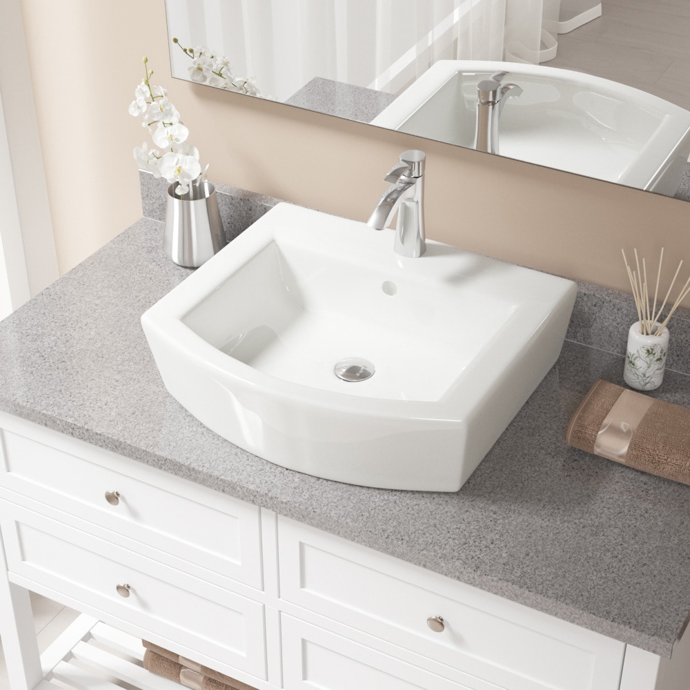 V300 Bisque Porcelain Sink with Chrome Faucet and Pop-up Drain ...