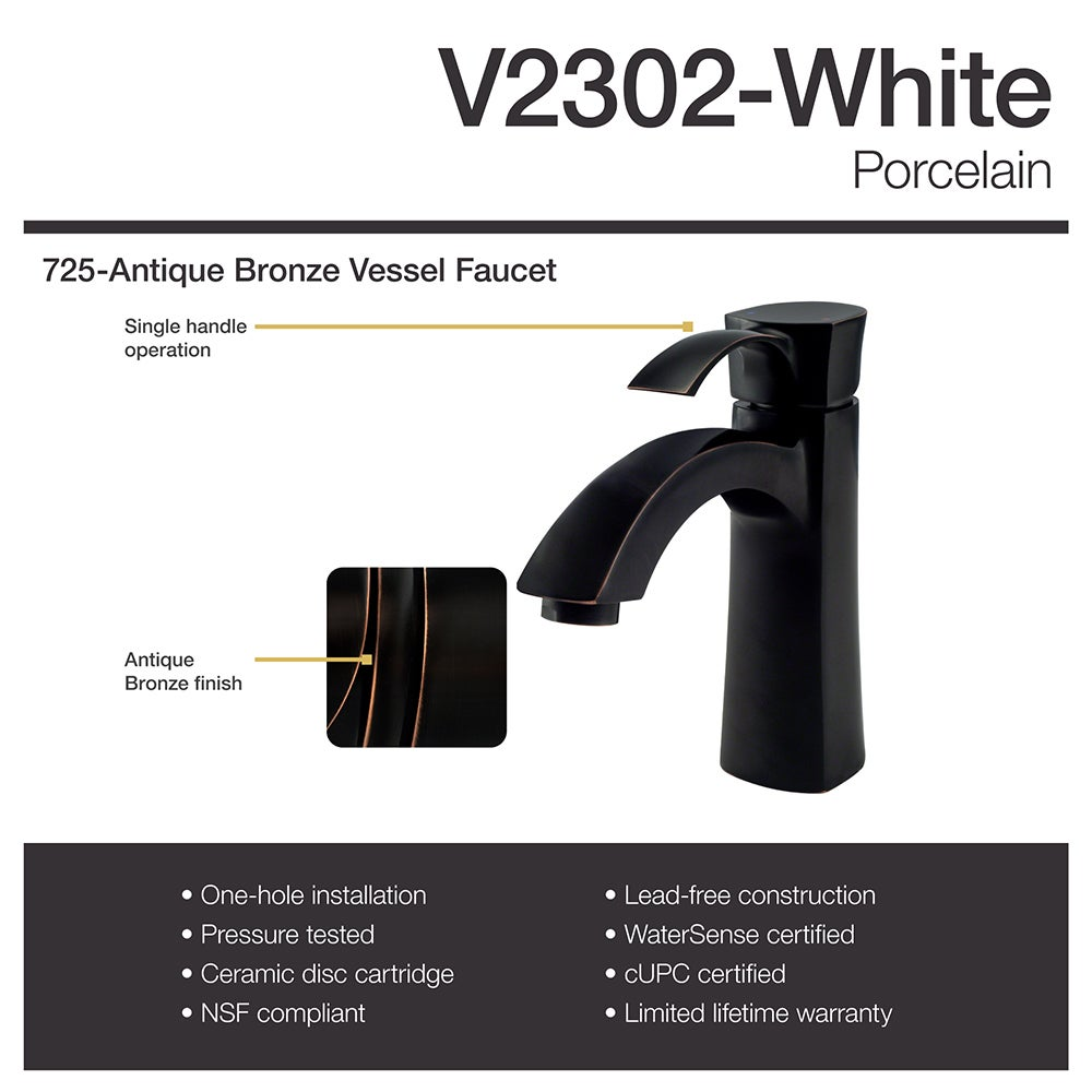 V2302 White Porcelain Sink with Antique Bronze Faucet and Popup ...