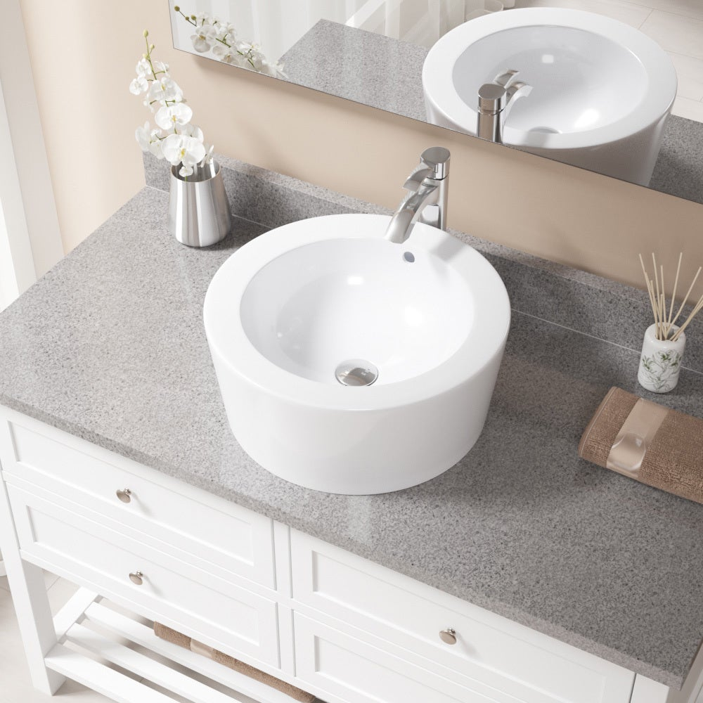 MR Direct V1902 White/Chrome Porcelain Sink With Faucet and Pop-up ...