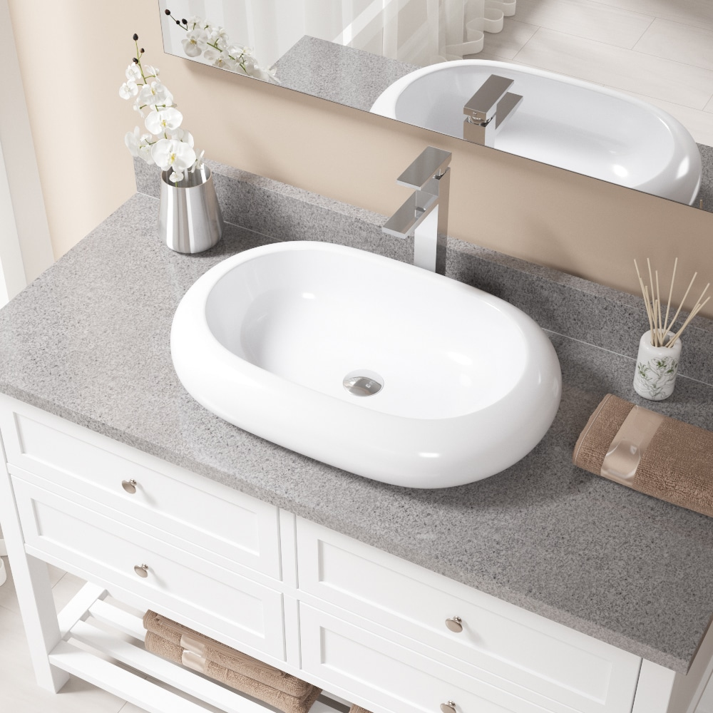 V1302 White Porcelain Sink with Chrome Faucet and Pop-up Drain ...
