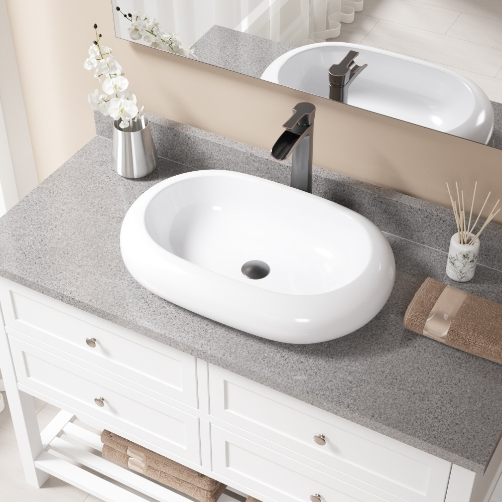 Gentil Shop V1302 White Porcelain Sink With Antique Bronze Faucet And Pop Up Drain    Free Shipping Today   Overstock.com   14565811