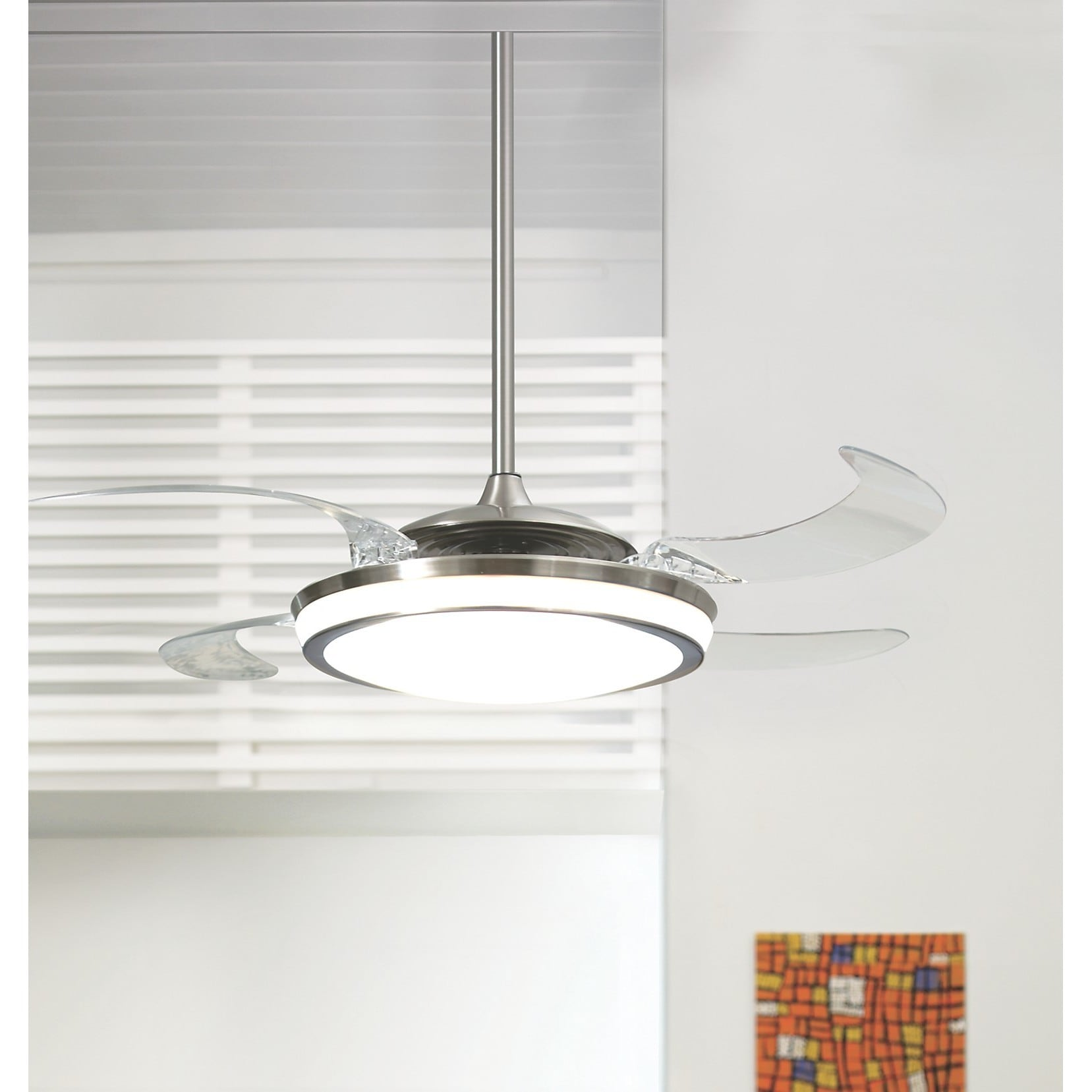 Hunter Fan Fanaway Brushed Chrome With 5 Clear Blades 48 Inch Ceiling Integrated Light Silver Free Shipping Today