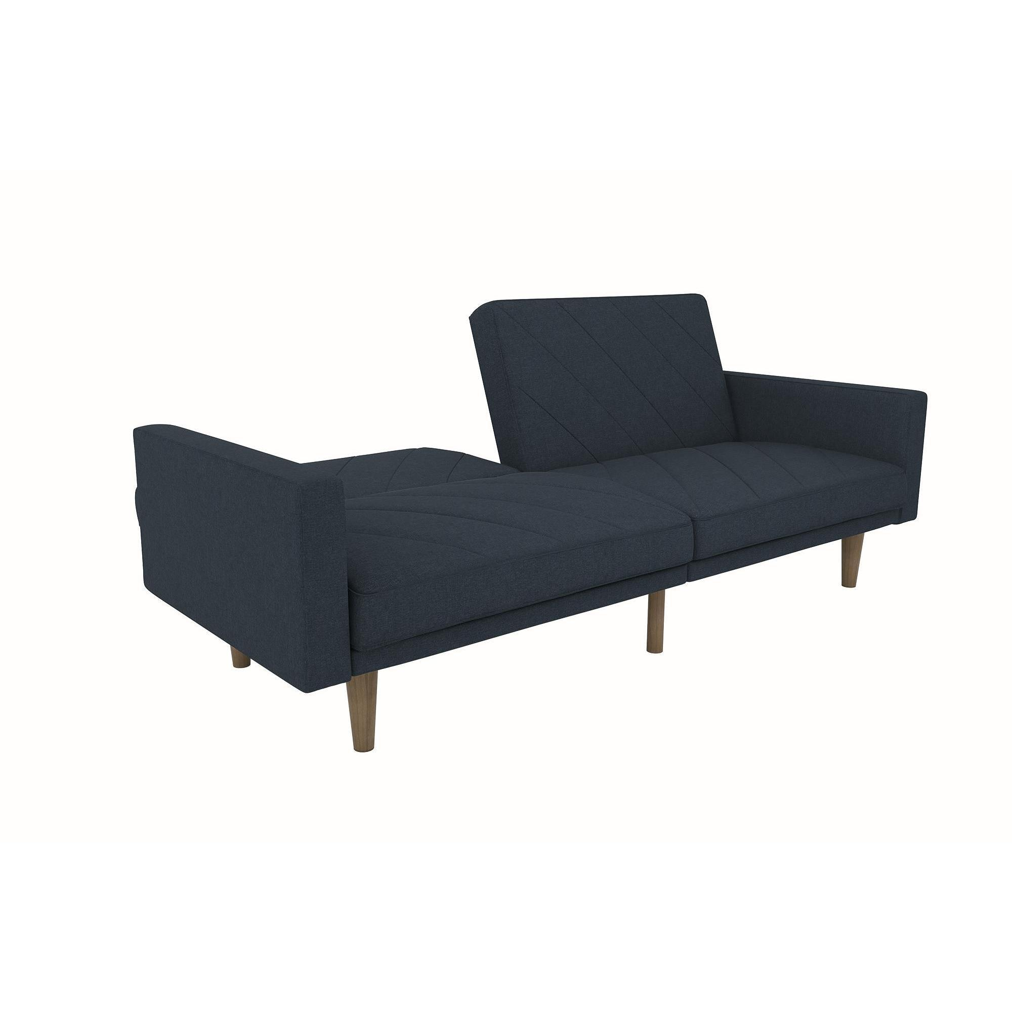 Medium image of dhp paxson contemporary navy blue linen futon   free shipping today   overstock     21114741