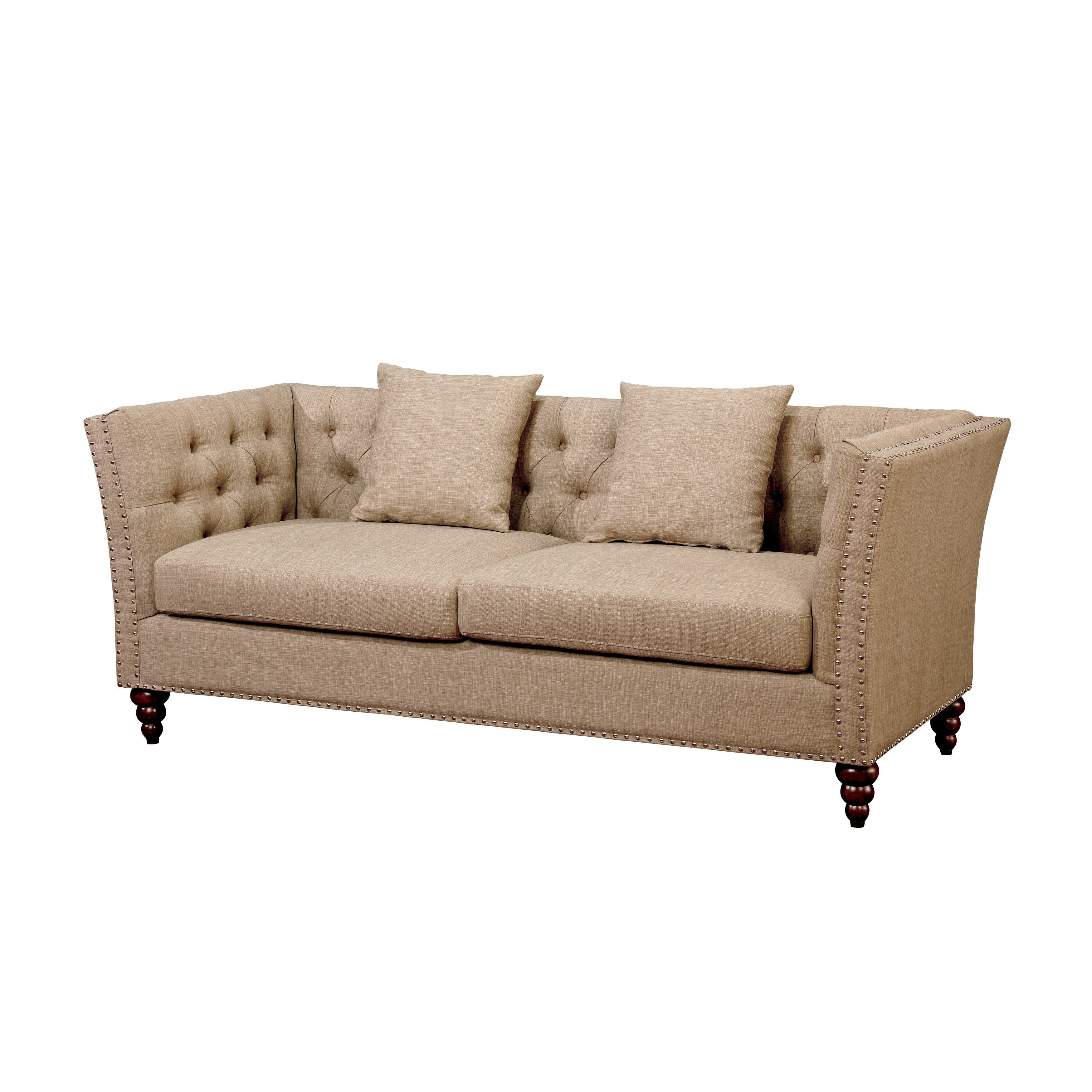 Merveilleux Shop Furniture Of America Cerona Contemporary Tuxedo Style Beige Tufted  Linen Sofa   Free Shipping Today   Overstock.com   14566292