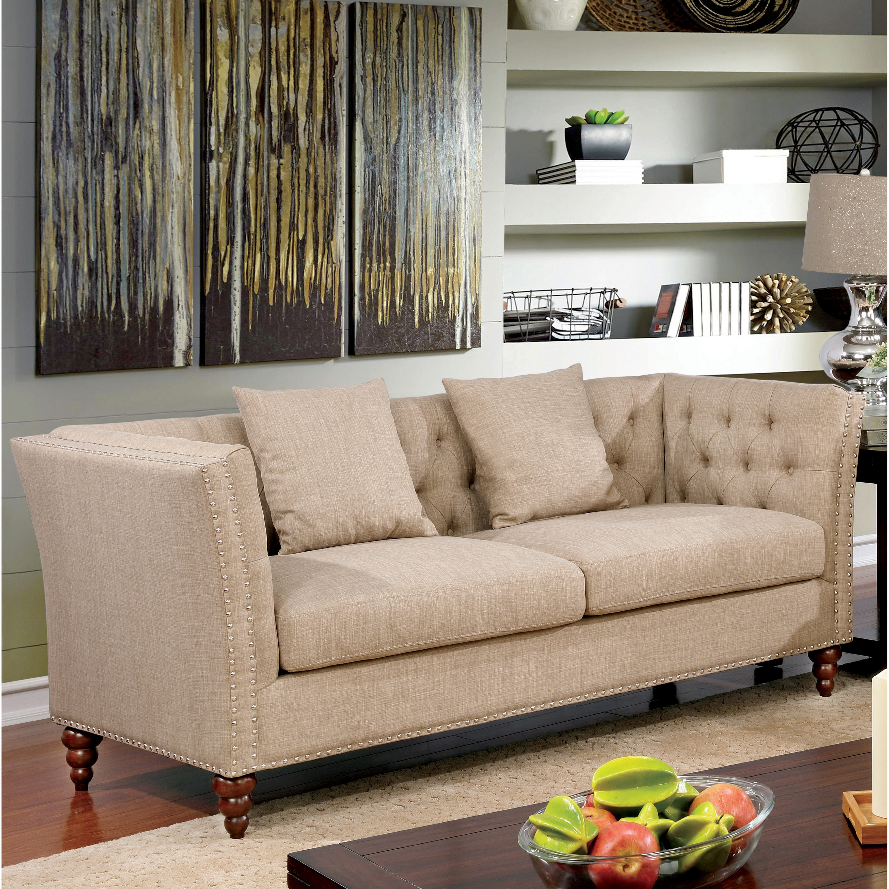 Exceptionnel Shop Furniture Of America Cerona Contemporary Tuxedo Style Beige Tufted  Linen Sofa   On Sale   Free Shipping Today   Overstock.com   14566292