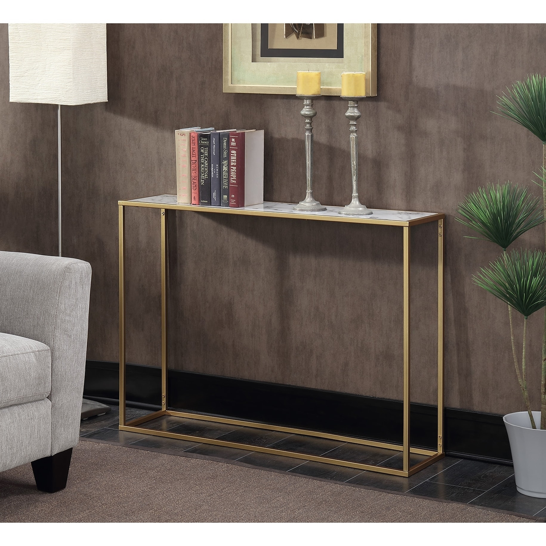 Shop Convenience Concepts Gold Coast Faux Marble Console Table   Free  Shipping Today   Overstock.com   14573682