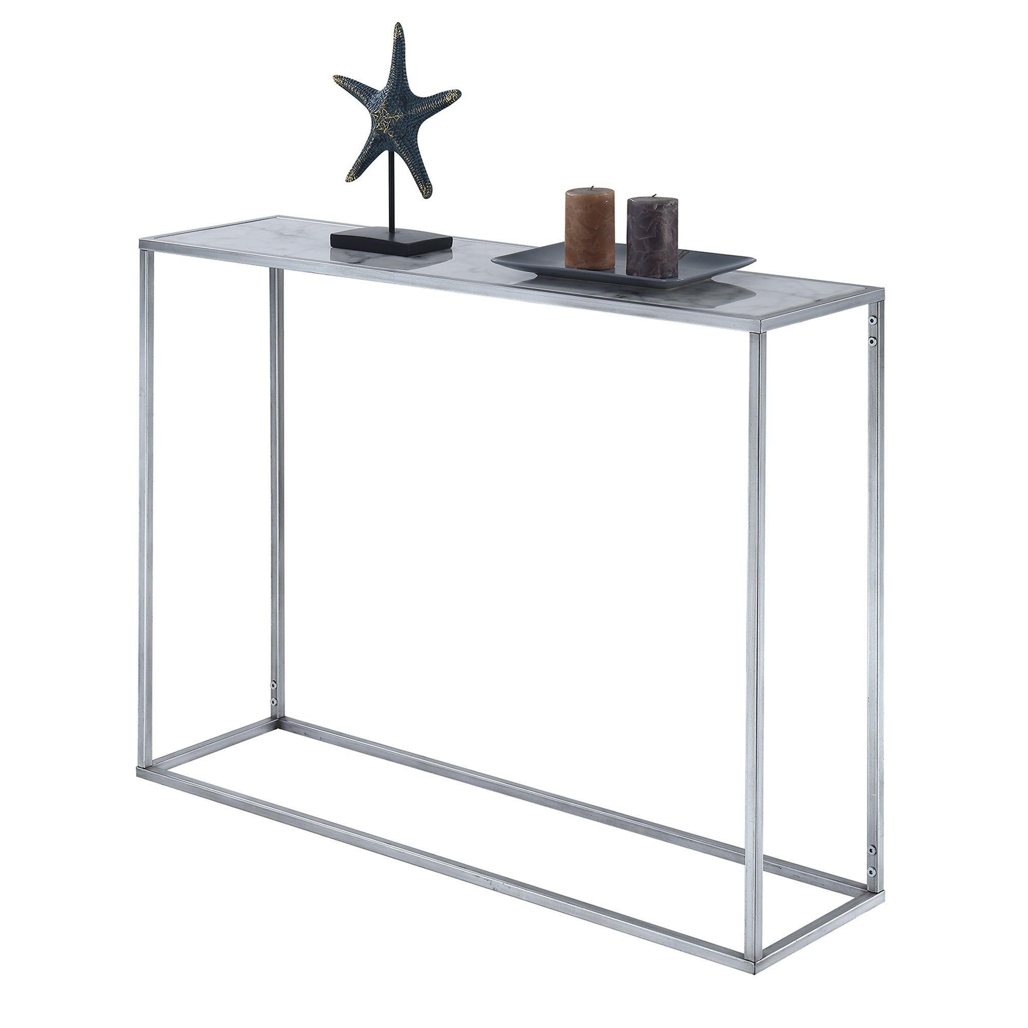 Silver Orchid Hasmik Rectangular Faux Marble Console Table On Free Shipping Today 23122997