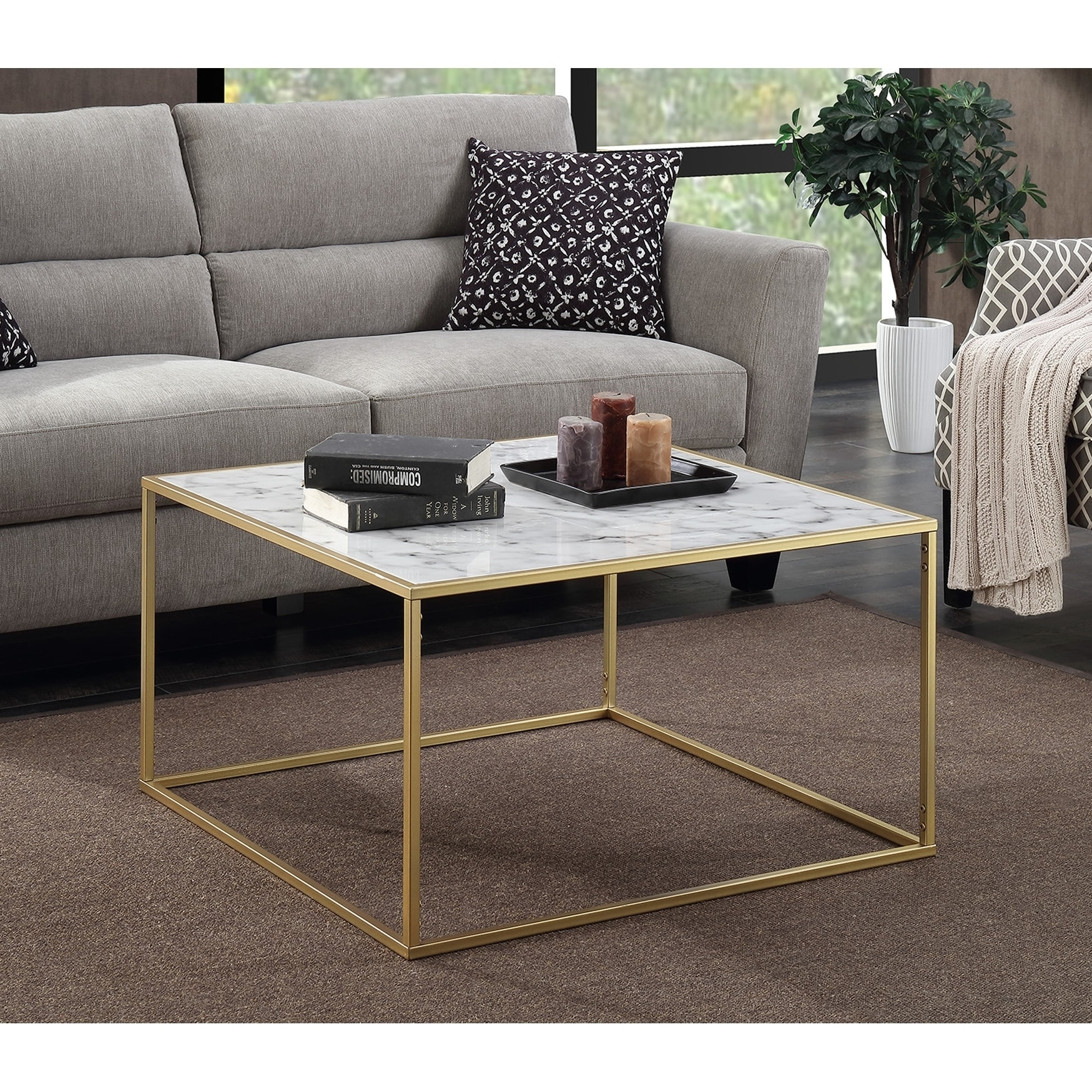 Convenience Concepts Gold Coast Faux Marble Coffee Table Free
