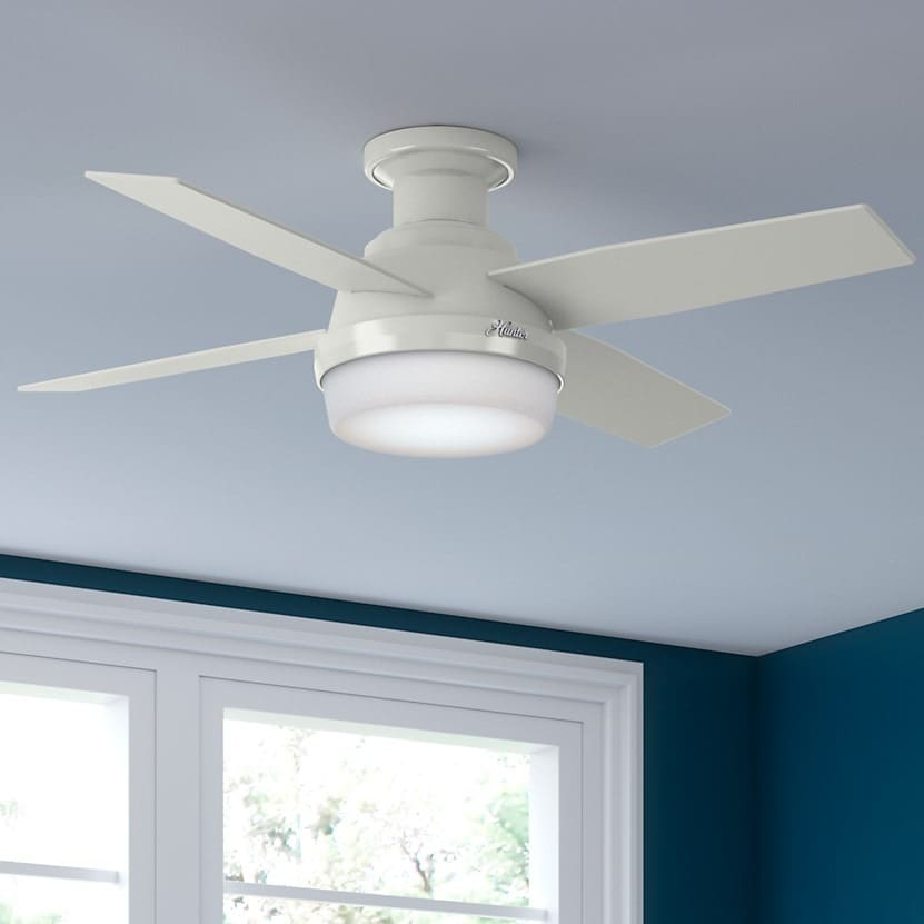 44 inch ceiling fan with light shop hunter fan dempsey collection white 44inch low profile reversible blade ceiling free shipping today overstockcom 14574285