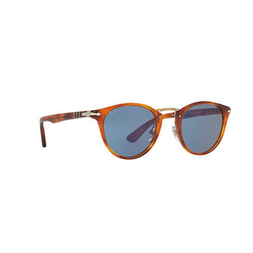 57d28ae642302 Shop Persol Men s PO3108S 96 56 49 Round Plastic Havana Blue Sunglasses -  Free Shipping Today - Overstock - 14574372