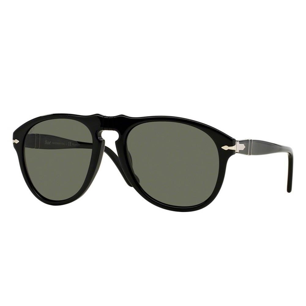 b0e55d1ba4c26 Shop Persol Men s PO0649 95 58 54 Aviator Plastic Black Green Sunglasses -  Free Shipping Today - Overstock - 14574389