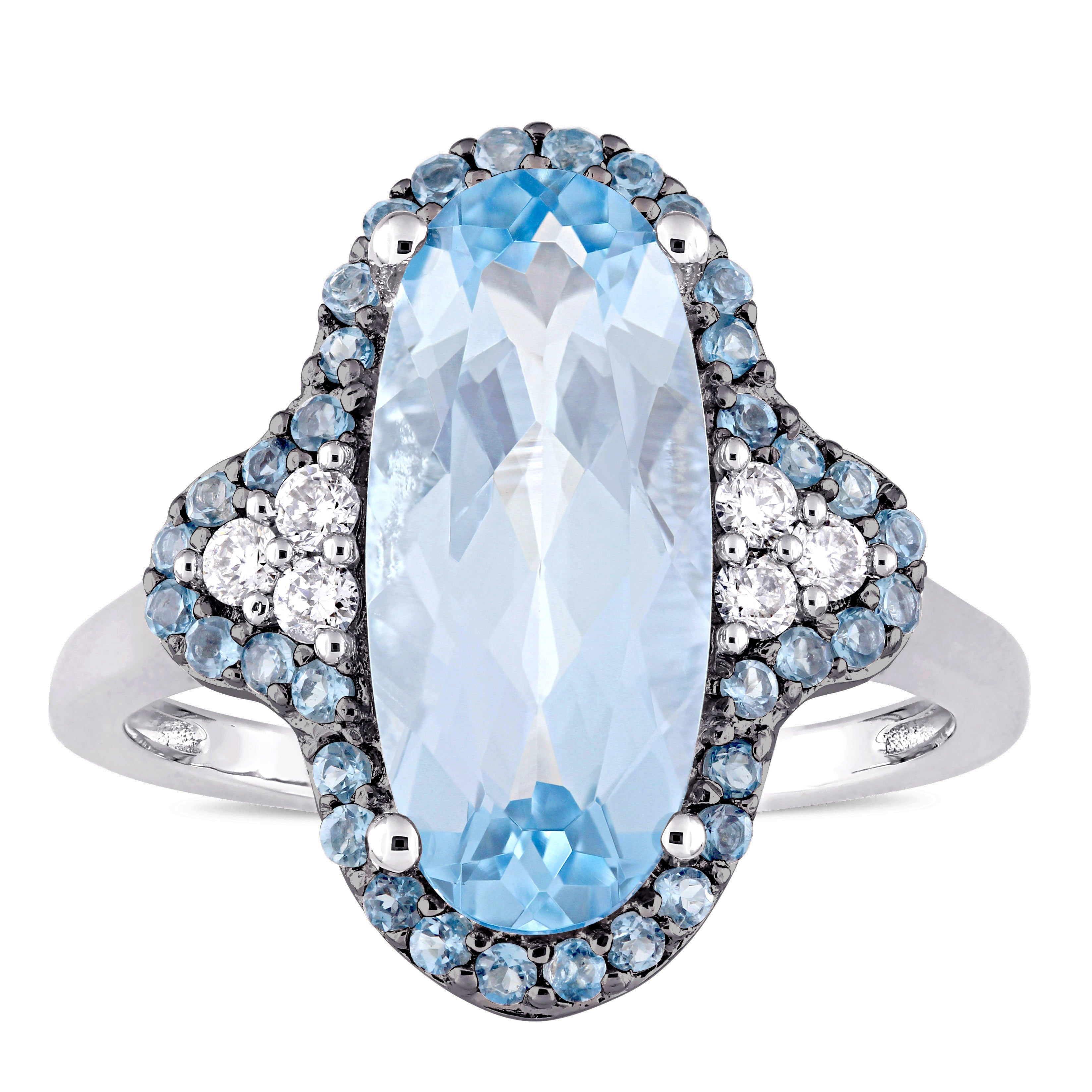 Miadora Signature Collection 14k White Gold Sky & London Blue Topaz ...