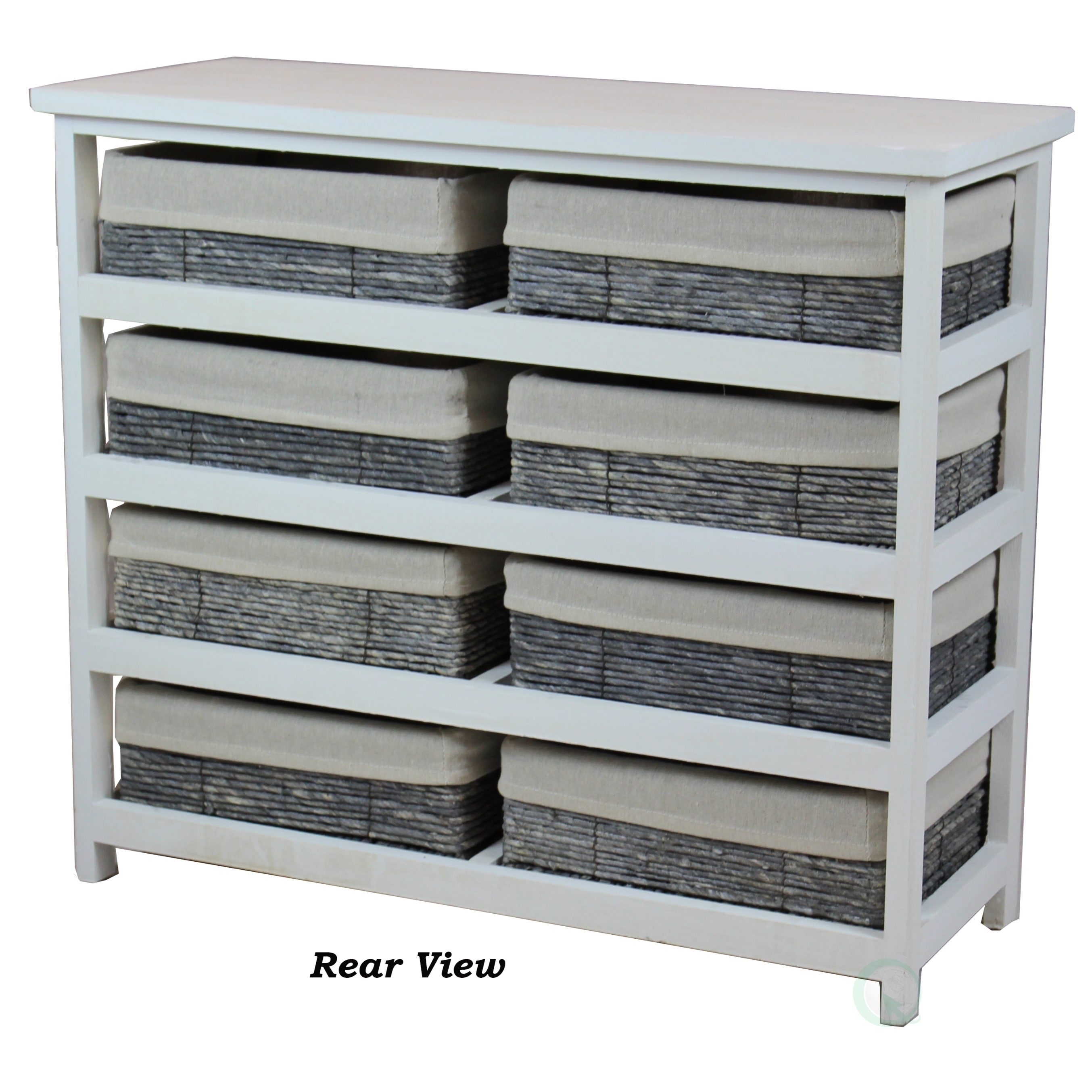 Rustic White Wooden Storage Chest With 8 Fabric Lined Baskets Free Shipping Today 14577158
