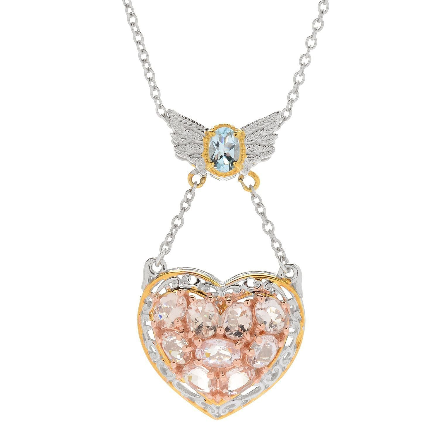 Michael valitutti palladium silver morganite aquamarine angel wing michael valitutti palladium silver morganite aquamarine angel wing heart pendant free shipping today overstock 21124717 aloadofball Image collections