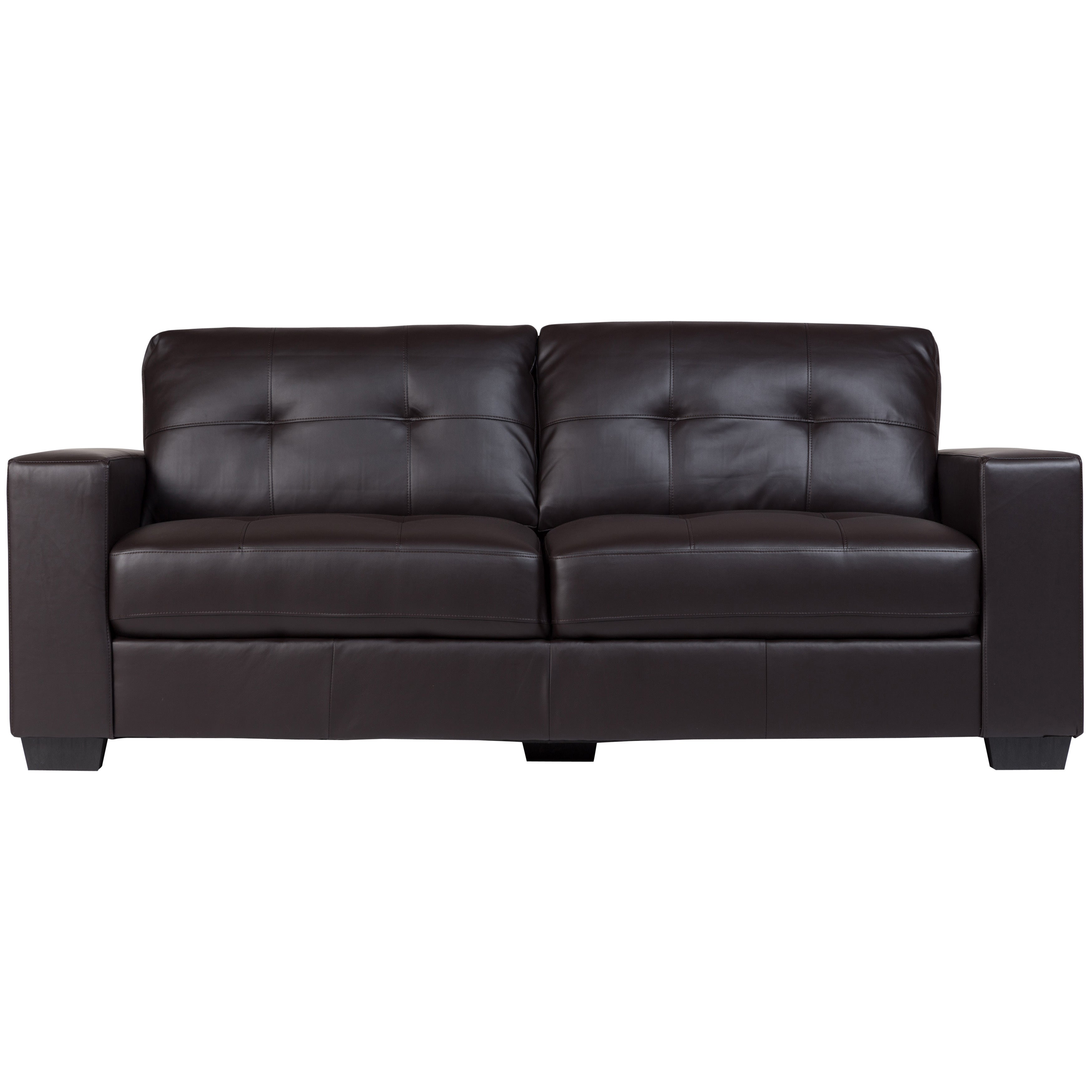 Porter Harper Brown Bonded Leather Modern Contemporary Tufted Sofa On Free Shipping Today 14582620