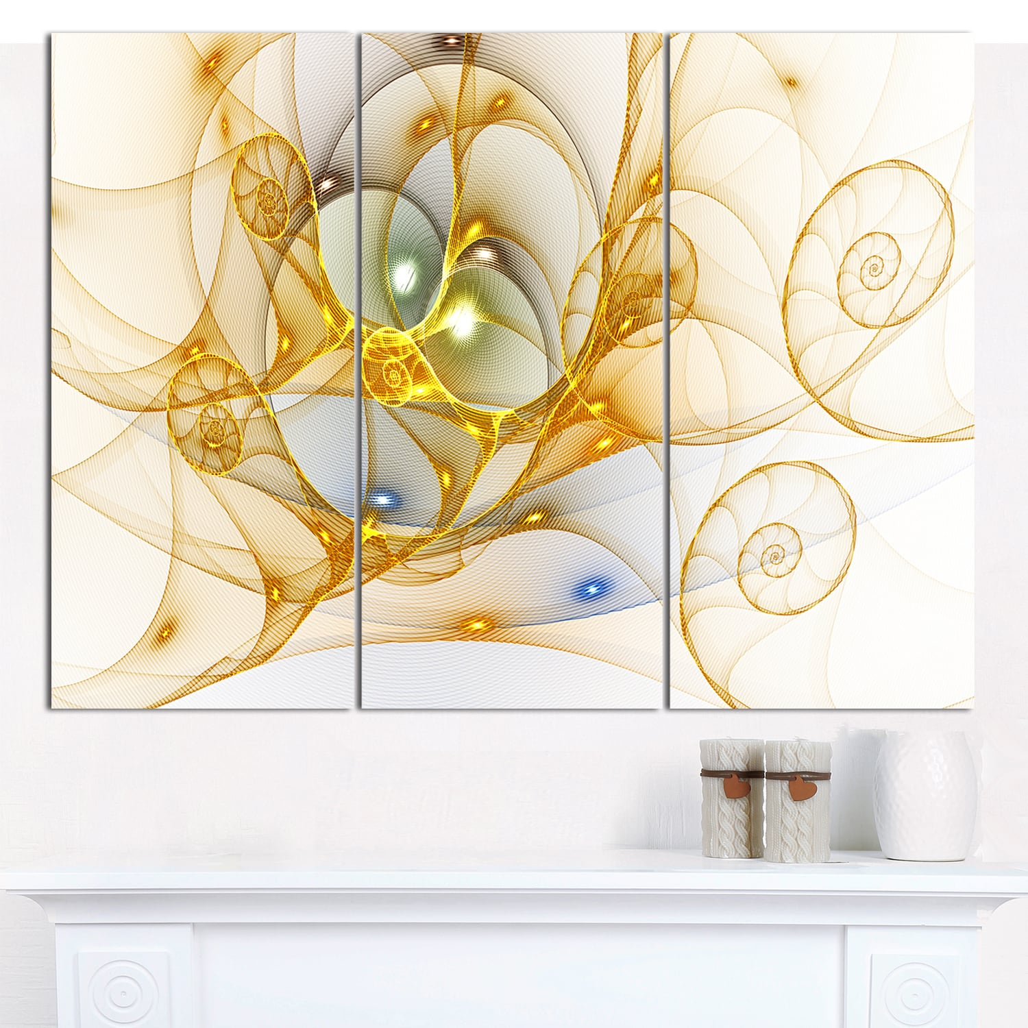 Designart \'Golden Colored Curly Spiral\' Triptych Canvas Art Print ...