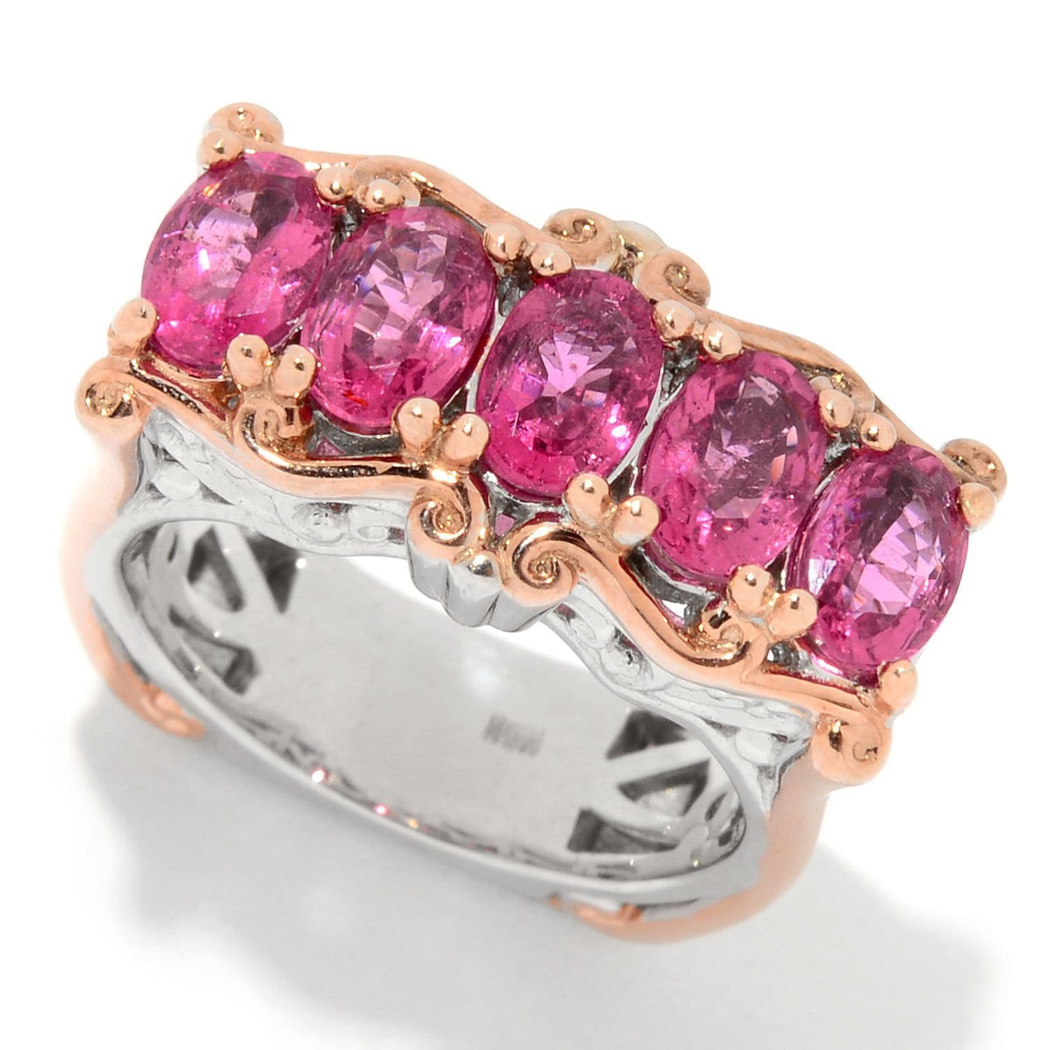 Shop Michael Valitutti Palladium Silver Rubellite Five-Stone East ...