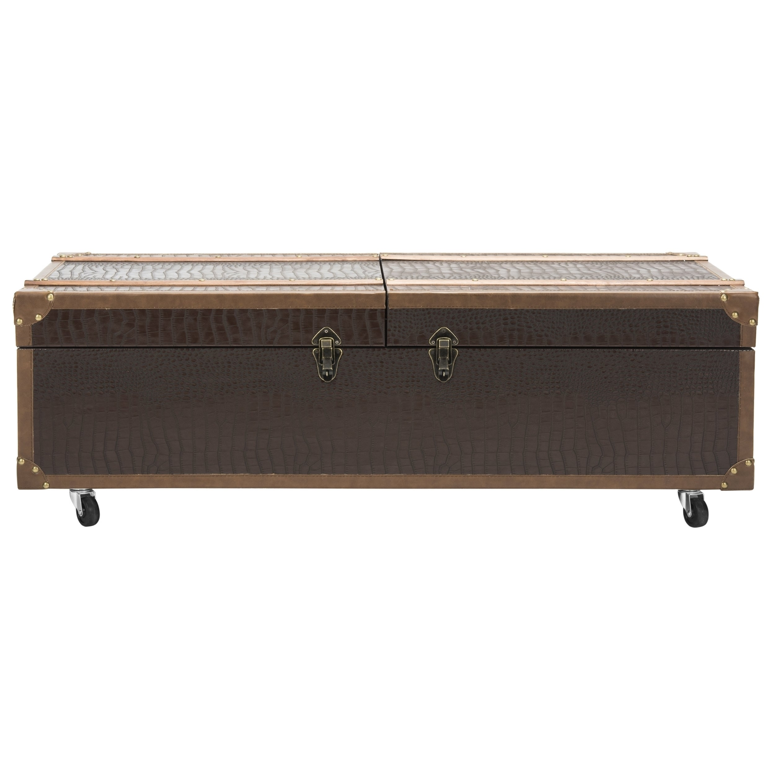 Shop Safavieh Zoe Coffee Table Storage Trunk With Wine Rack   Free Shipping  Today   Overstock.com   14585165