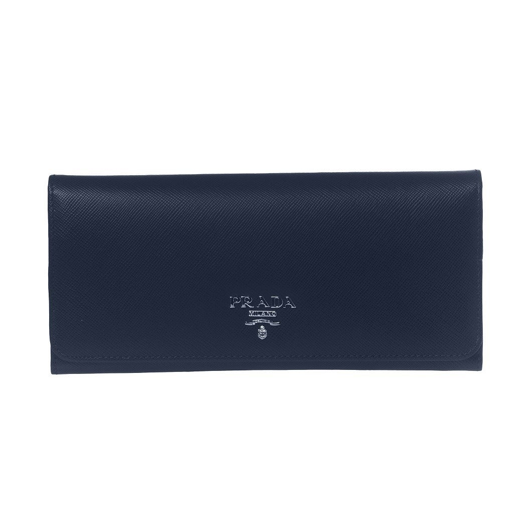 e1df614bce3f Shop Prada Women's Navy Saffiano Leather Continental Wallet - Free Shipping  Today - Overstock - 14585452
