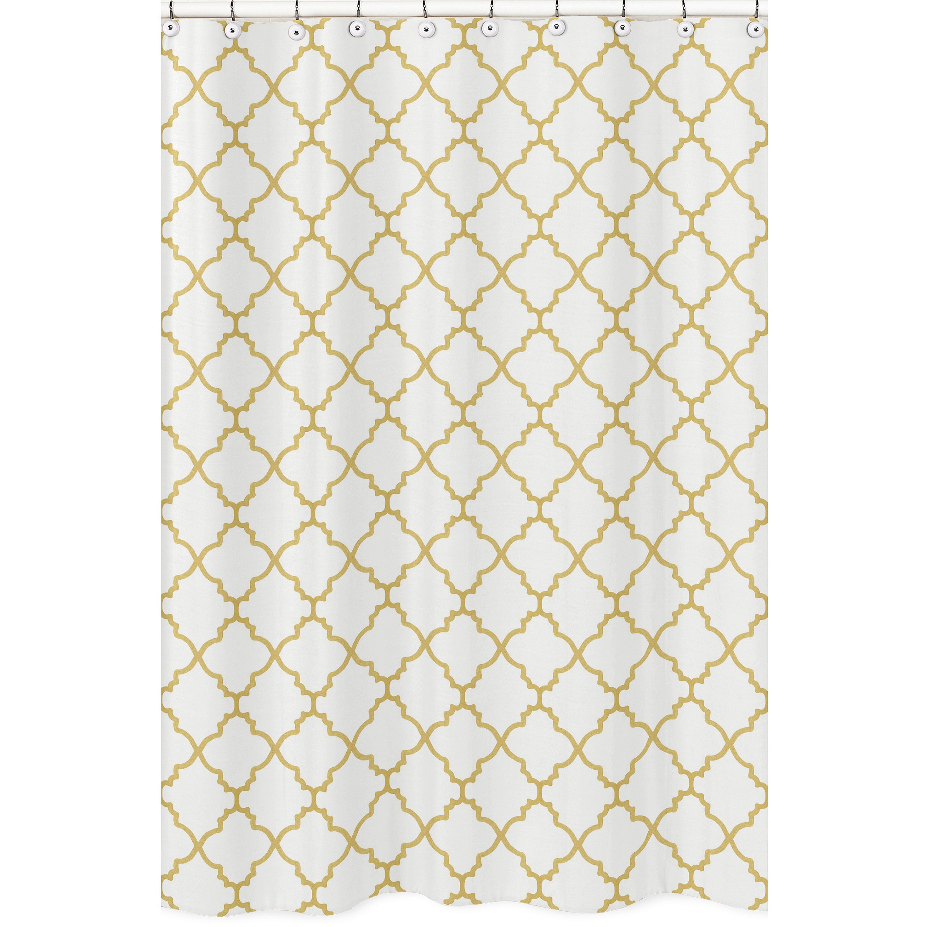 Shop Shower Curtain For The White And Gold Trellis Collection By Sweet Jojo Designs