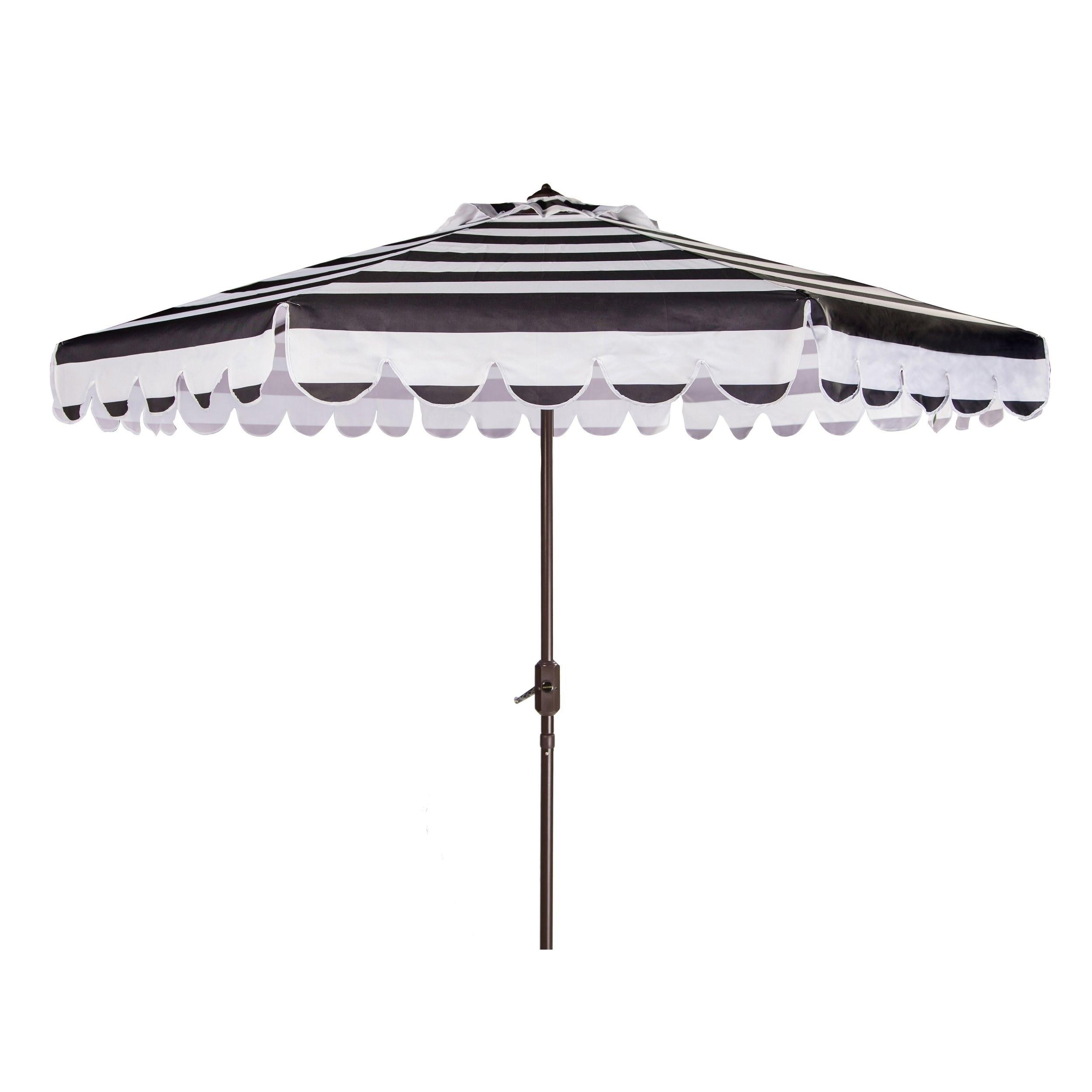Safavieh Maui Single Scallop Striped 9 Ft Black White Crank Umbrella On Free Shipping Today 14586635