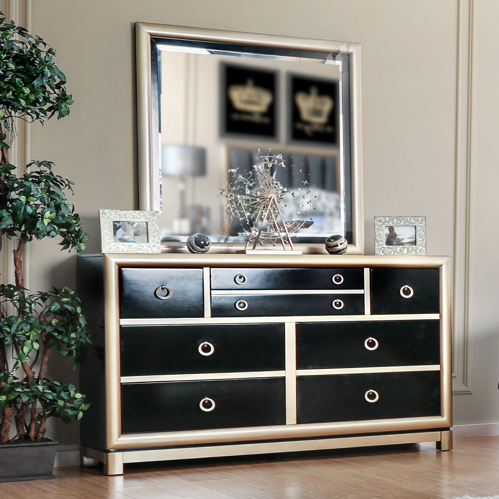 Furniture of america lopex contemporary 2 piece two tone black gold dresser and mirror set