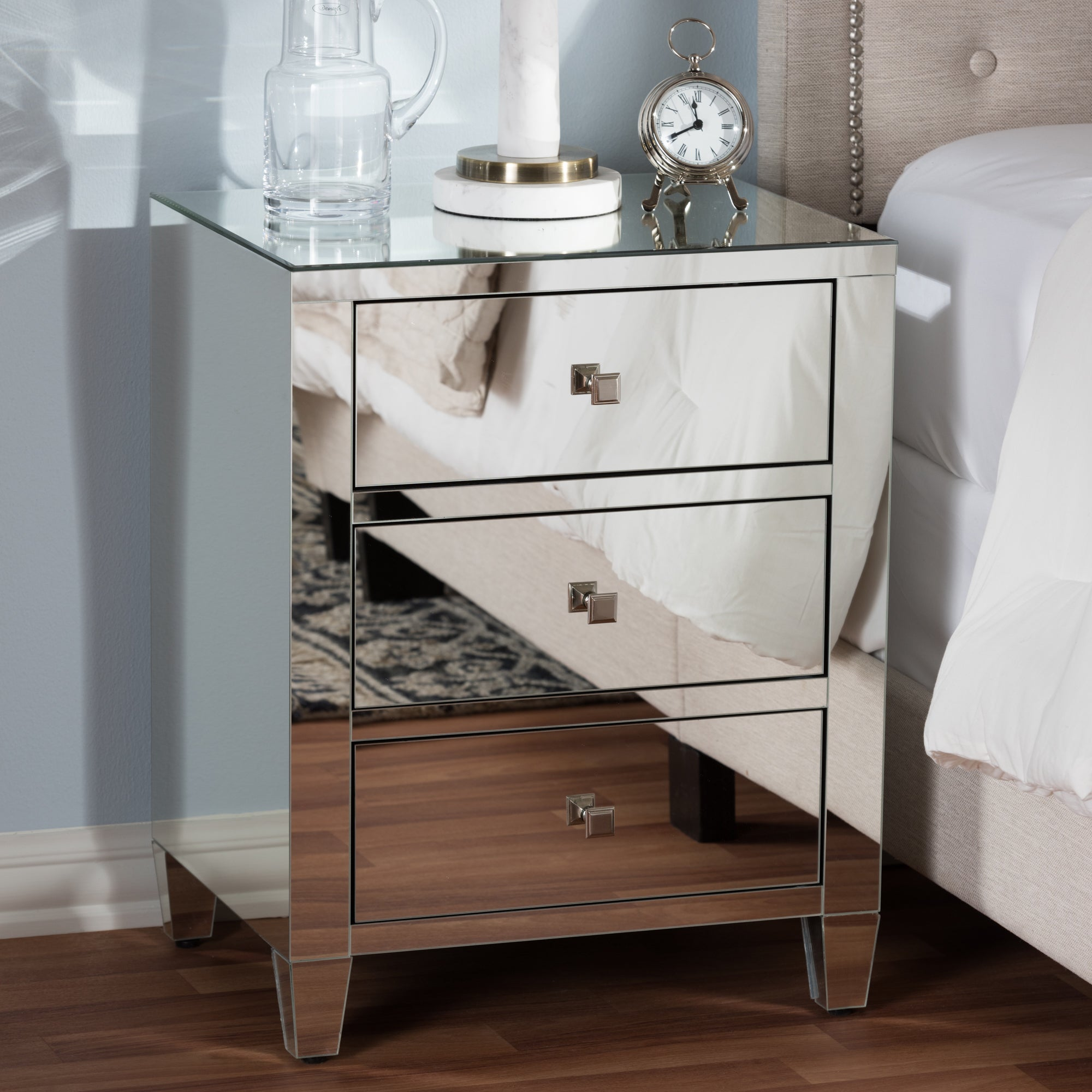 Shop glam silver mirrored nightstand 2 piece set by baxton studio free shipping today overstock com 14587132
