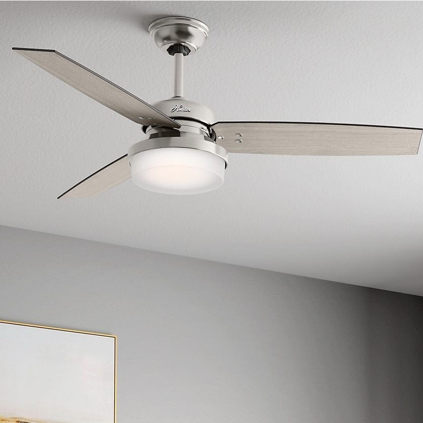 Shop hunter fan sentinel brushed nickel 52 inch ceiling fan with 3 shop hunter fan sentinel brushed nickel 52 inch ceiling fan with 3 reversible blades silver free shipping today overstock 14587904 aloadofball Images