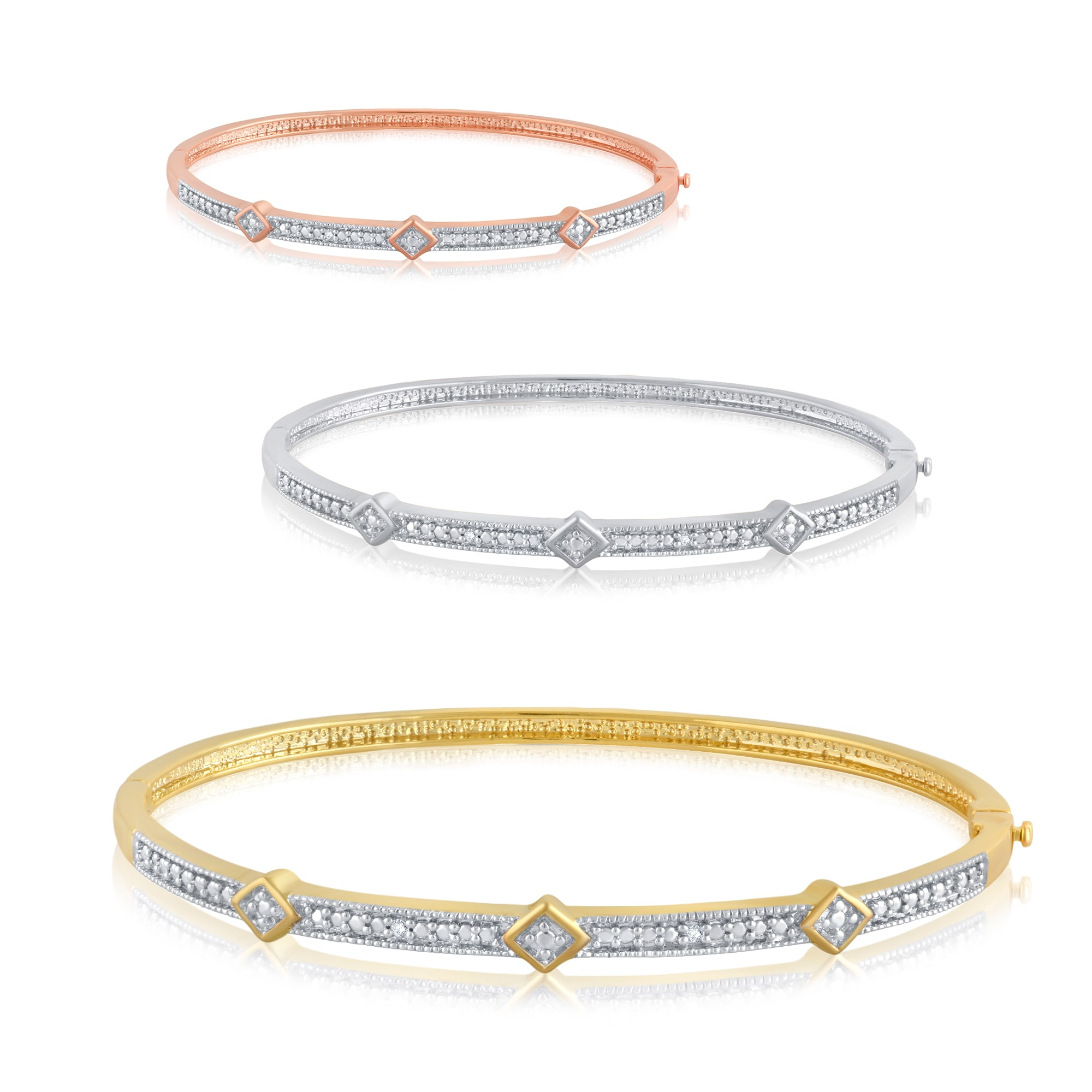 Divina Silver Overlay and Goldtone Diamond Accent Bangle - Free Shipping On  Orders Over $45 - Overstock.com - 21135552