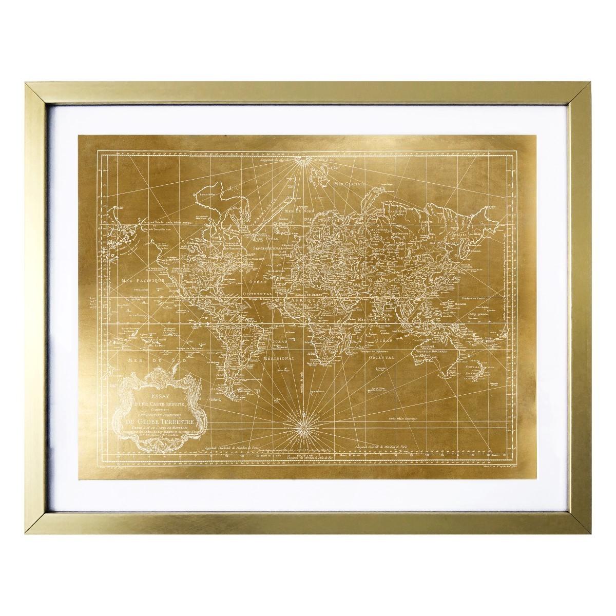 Gold Foil World Map Framed.Shop World Map 1778 Gold Gold Foil Framed Art Multi Free