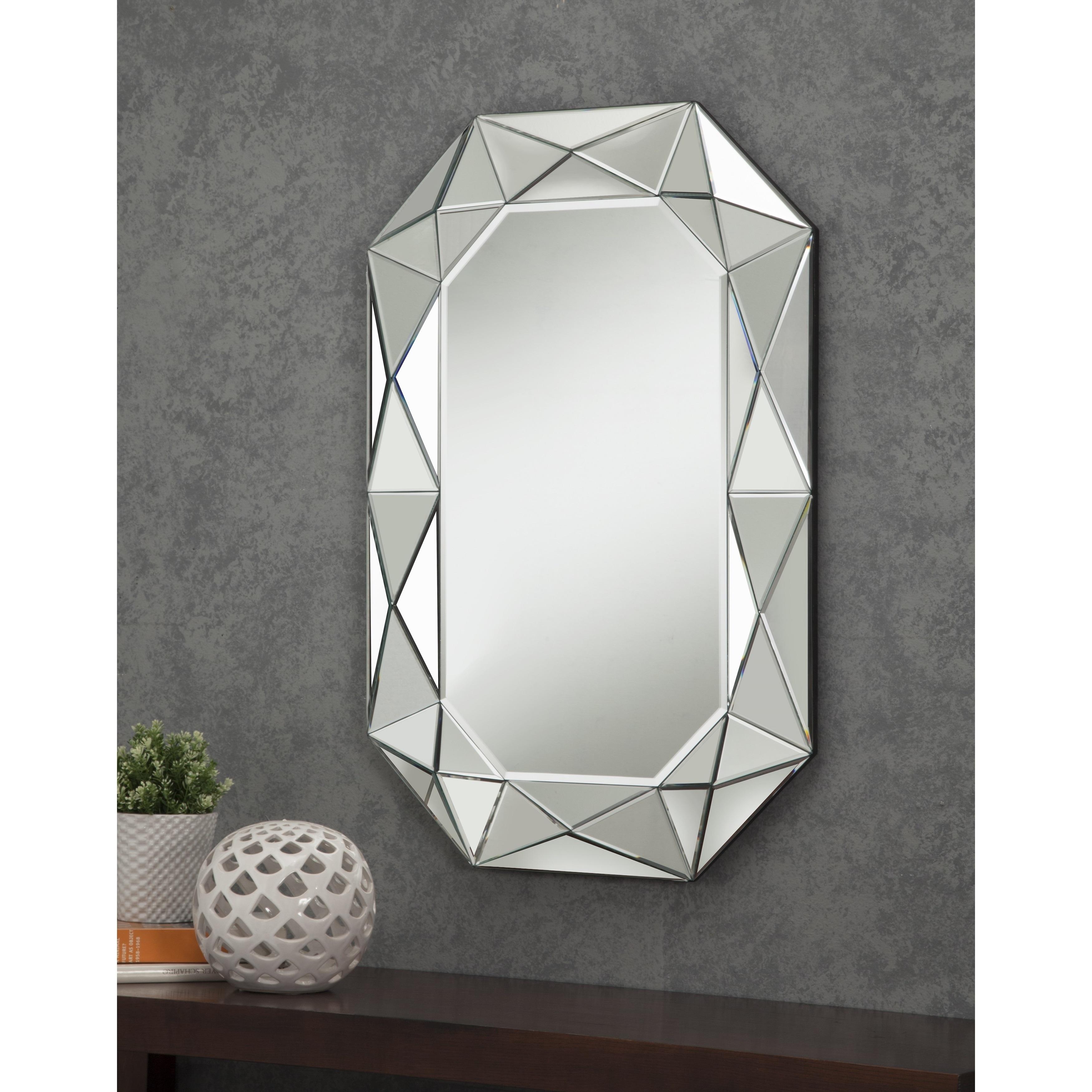 Shop Sandberg Furniture Diamond Cut Faceted Wall Mirror Silver