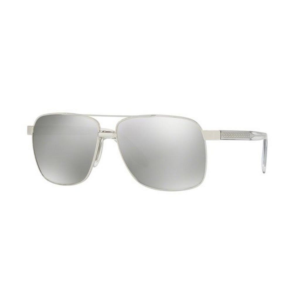 2663b742df9 Versace Men s VE2174 10006G 59 Square Metal Plastic Silver Grey Sunglasses