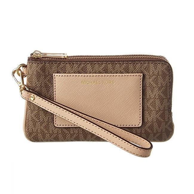 f2686673b66f Shop Michael Kors Bedford MochaSignature Medium Double Zip Wristlet Wallet  - Free Shipping Today - Overstock - 14595050
