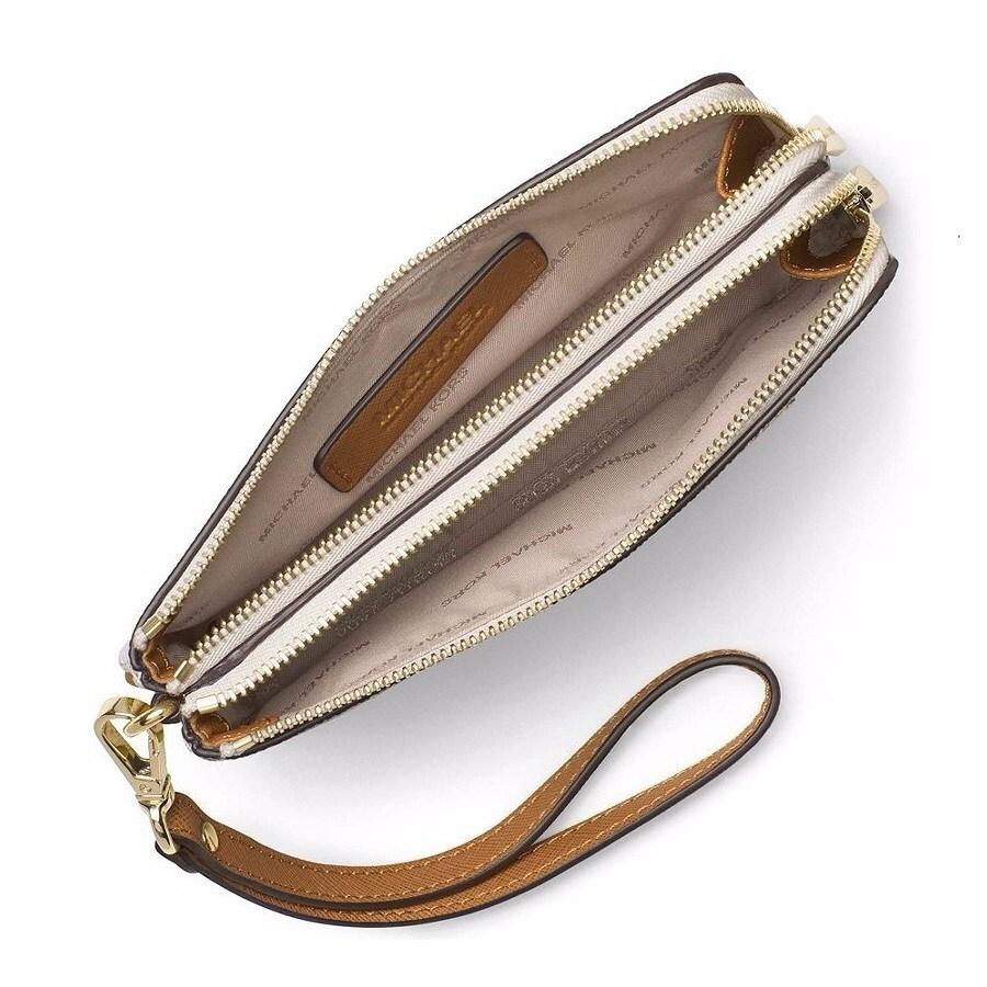 b6b9ba12e196 Shop Michael Kors Bedford Vanilla Signature Medium Double Zip Wristlet  Wallet - Free Shipping Today - Overstock - 14595076