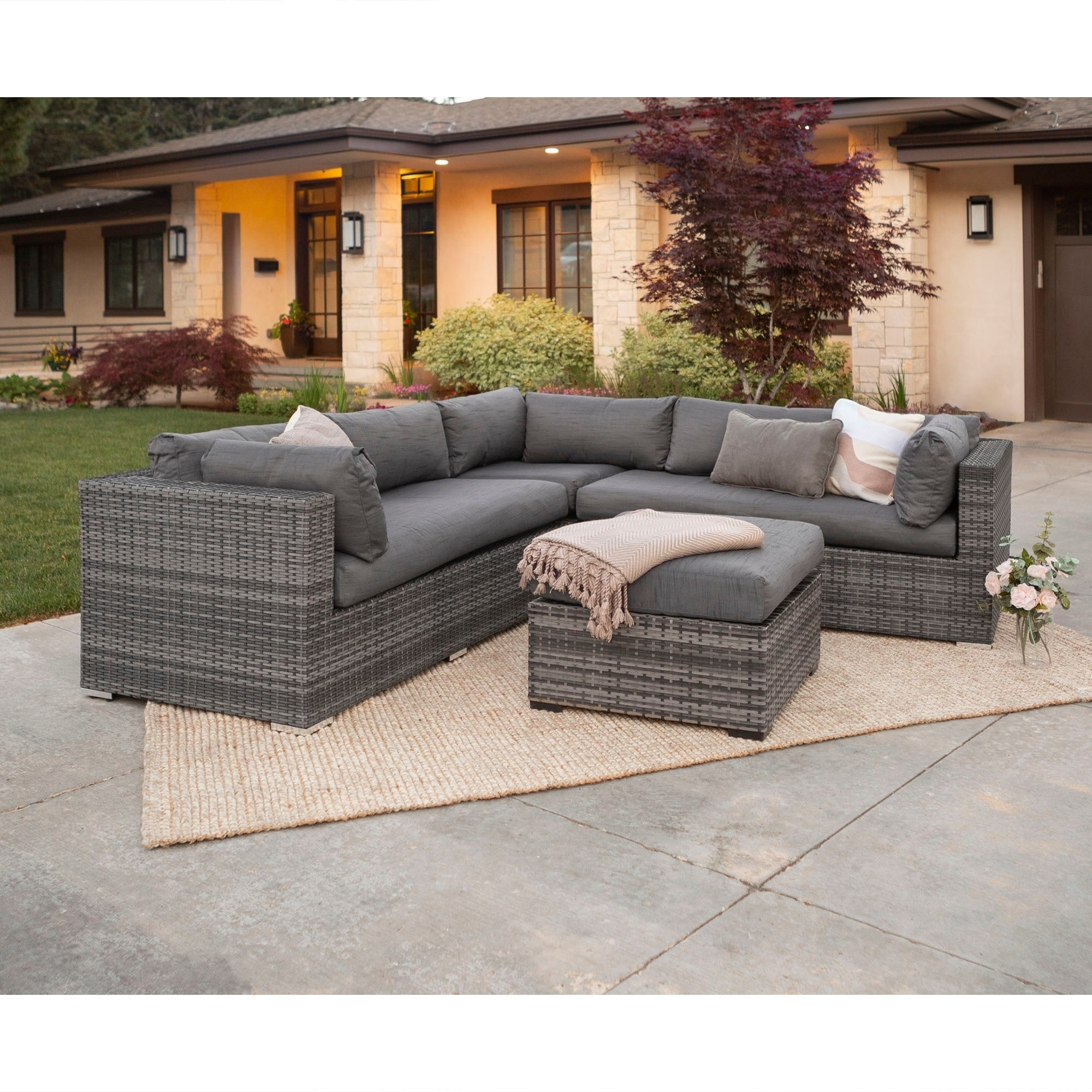 3 Piece Multi Shade Outdoor Sectional And Ottoman On Free Shipping Today 14595230