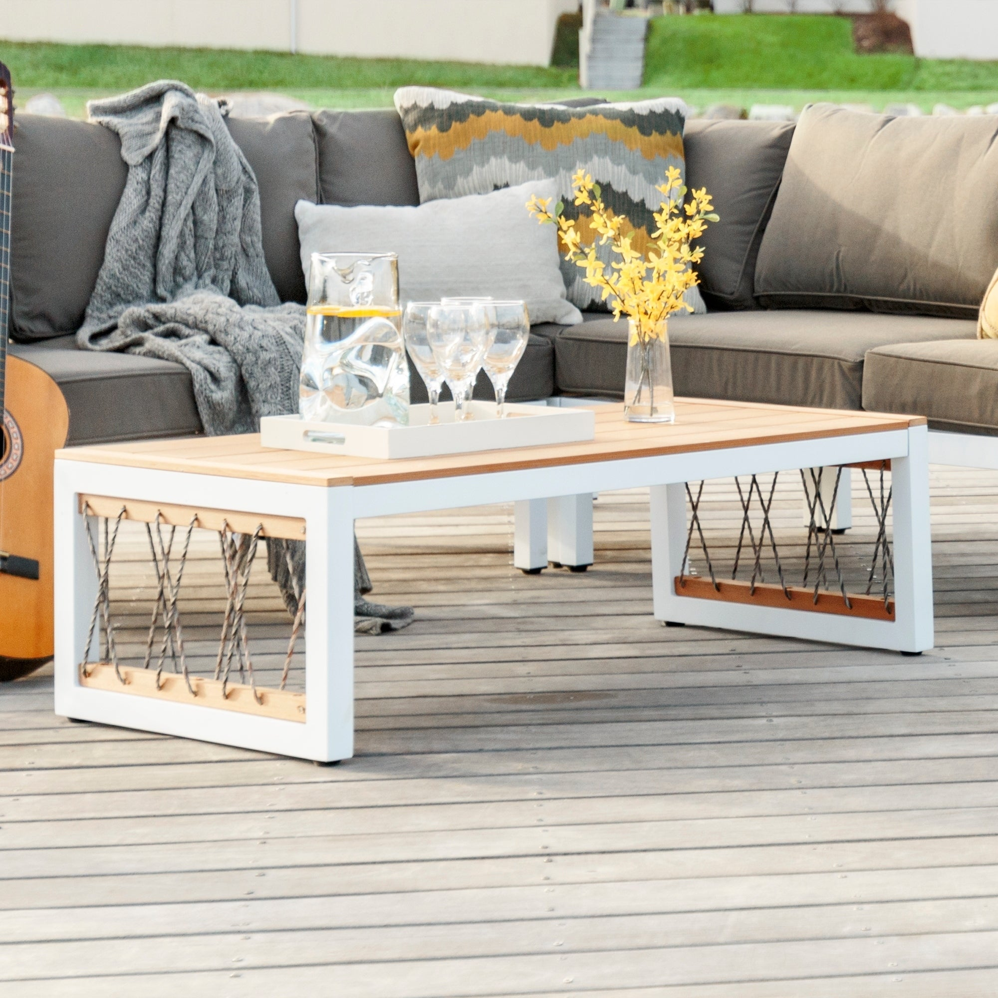 Shop 4 Piece Outdoor Patio Sectional With Cord Accents   On Sale   Free  Shipping Today   Overstock.com   14595304