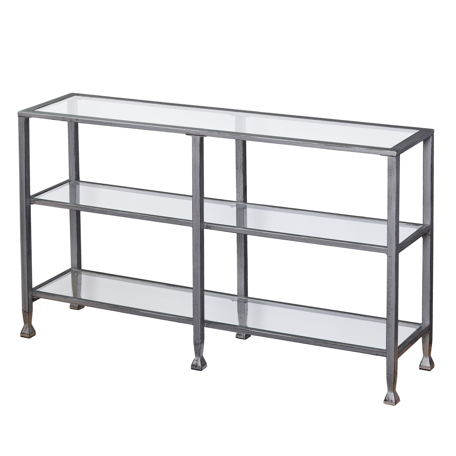 Porch U0026 Den RiNo Brighton Metal/ Glass 3 Tier Console Table   Free Shipping  Today   Overstock   21140428