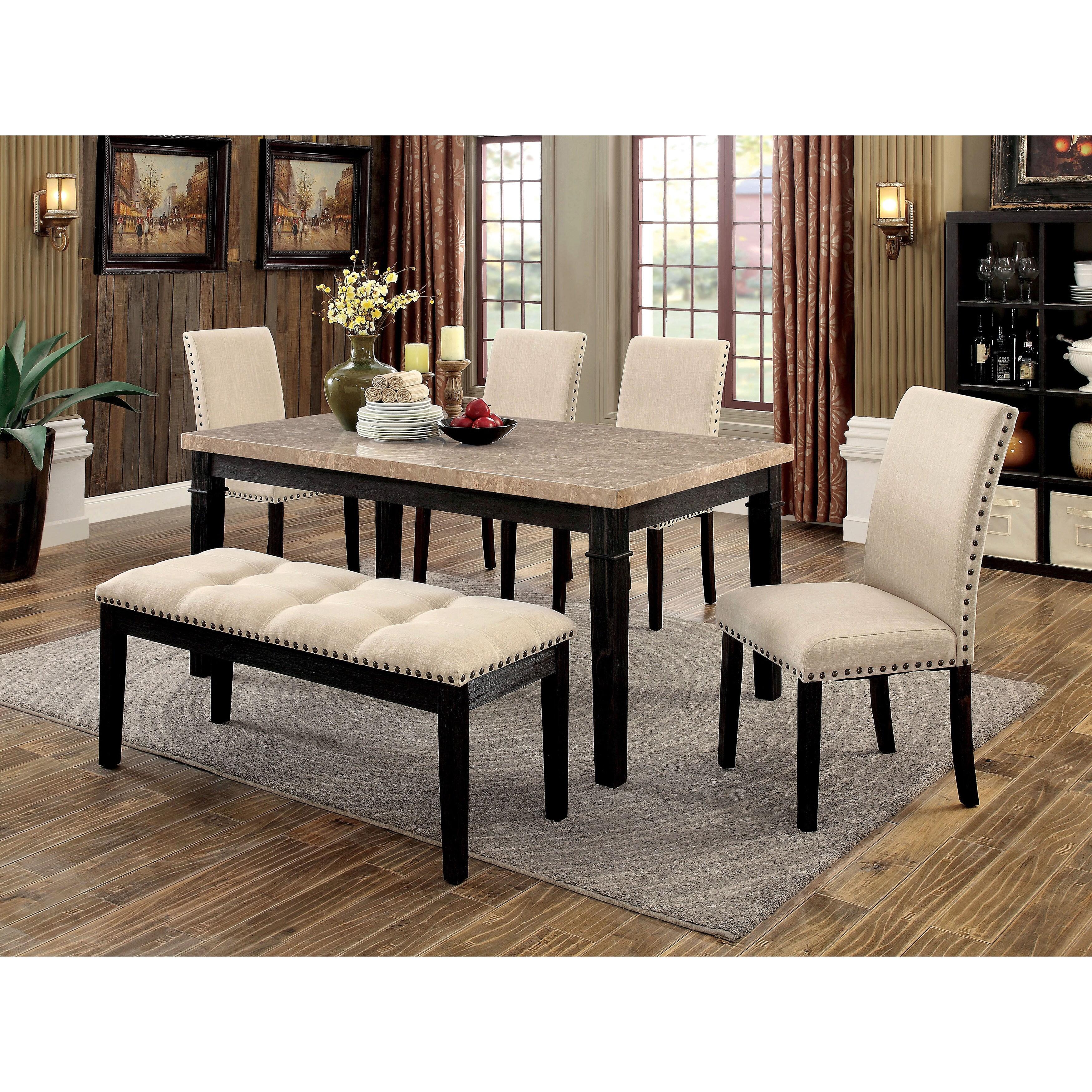 Furniture of America Denilia Contemporary Faux Marble